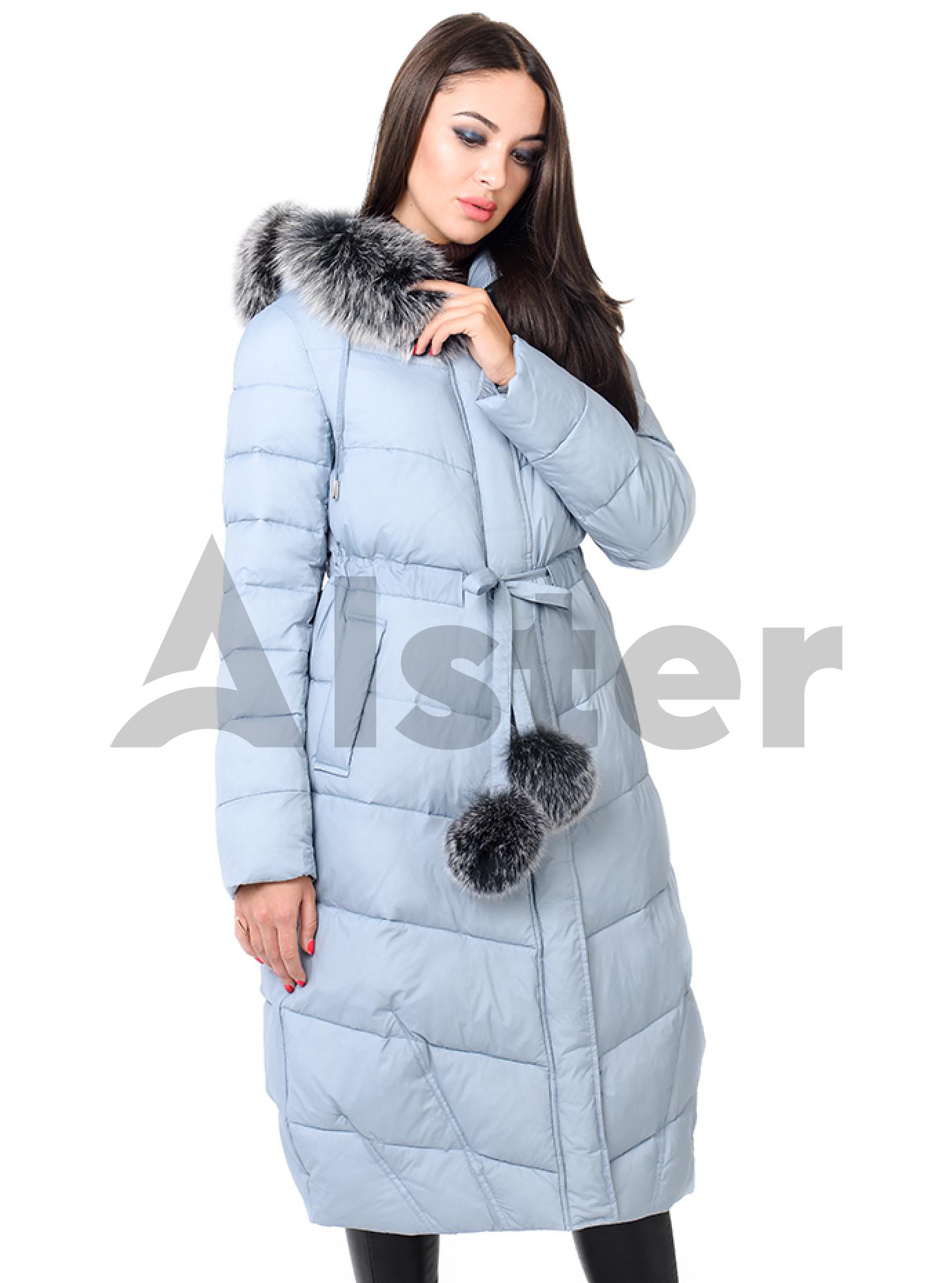 Куртка зимняя женская с мехом песца Светло-голубой L (02-CR170382): фото - Alster.ua