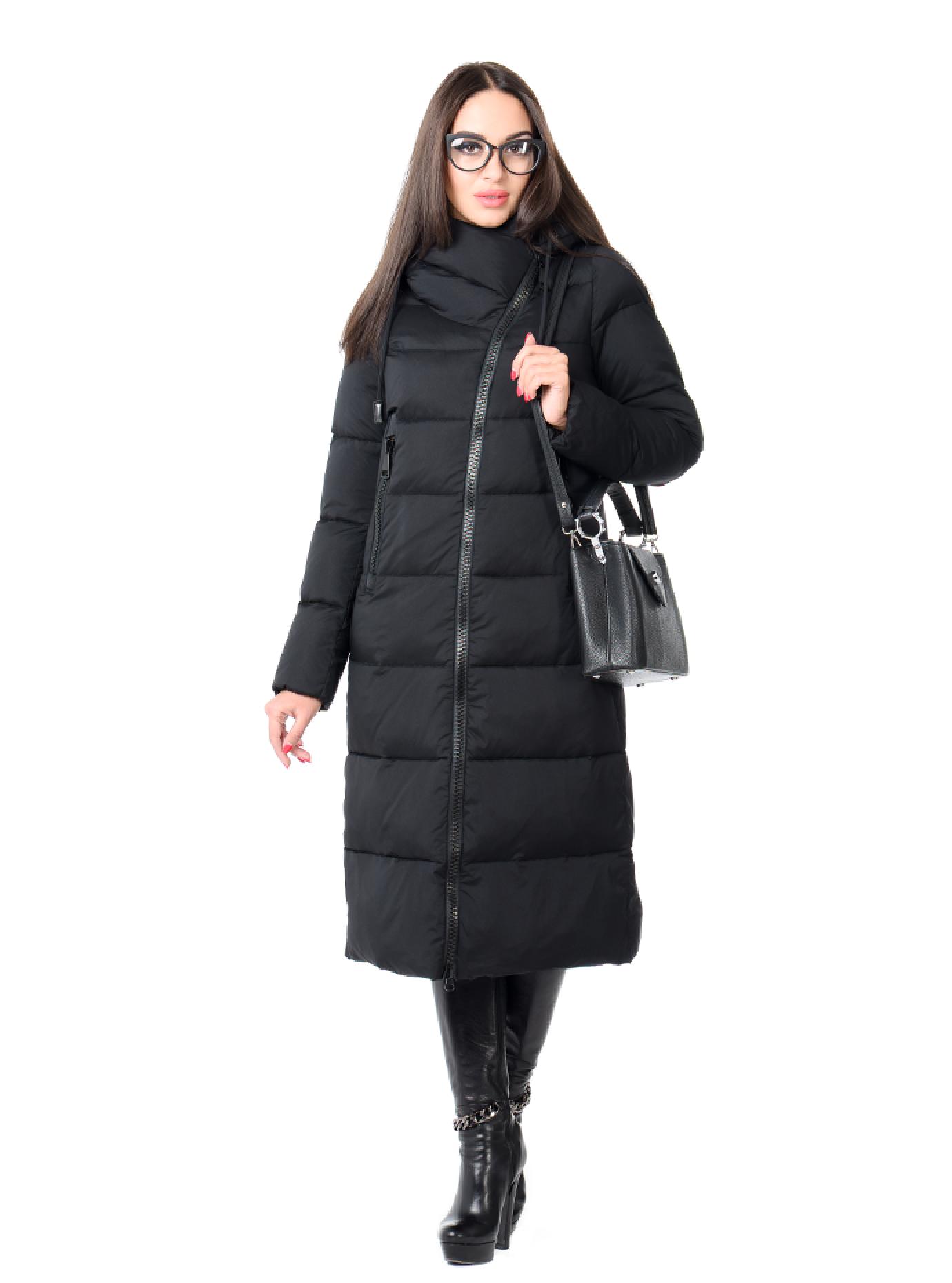 Куртка зимняя женская ассиметричная Чёрный S (02-CR170385): фото - Alster.ua