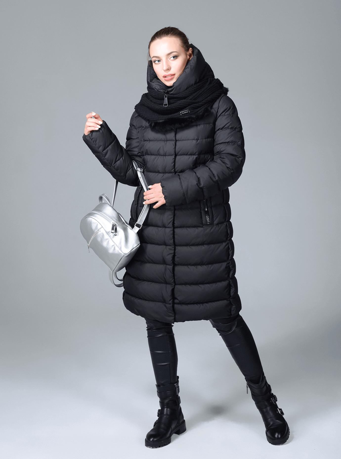 Куртка зимняя женская с шарфом Чёрный S (02-CR170239): фото - Alster.ua