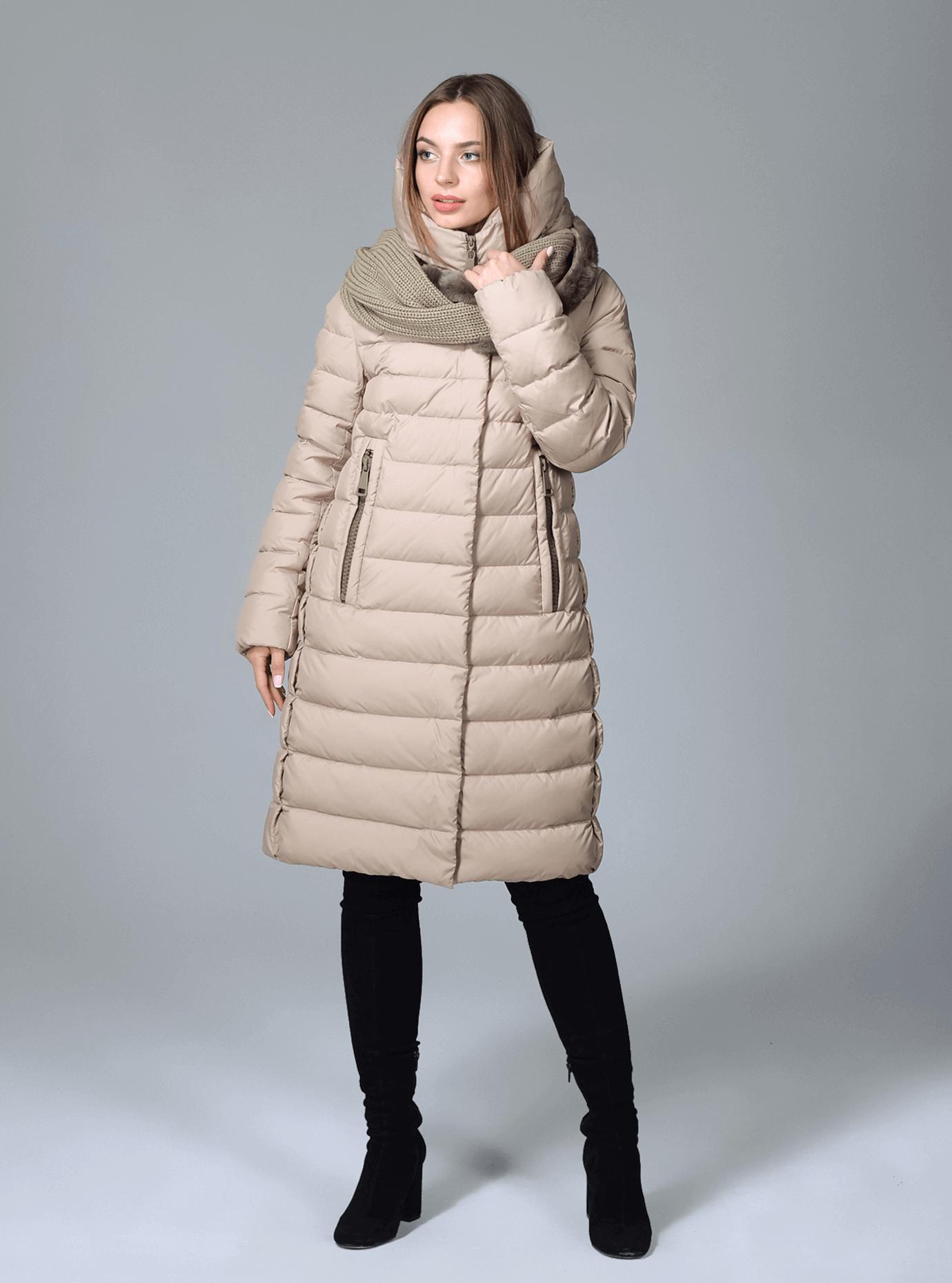 Куртка зимняя женская с шарфом Чёрный S (02-CR170232): фото - Alster.ua