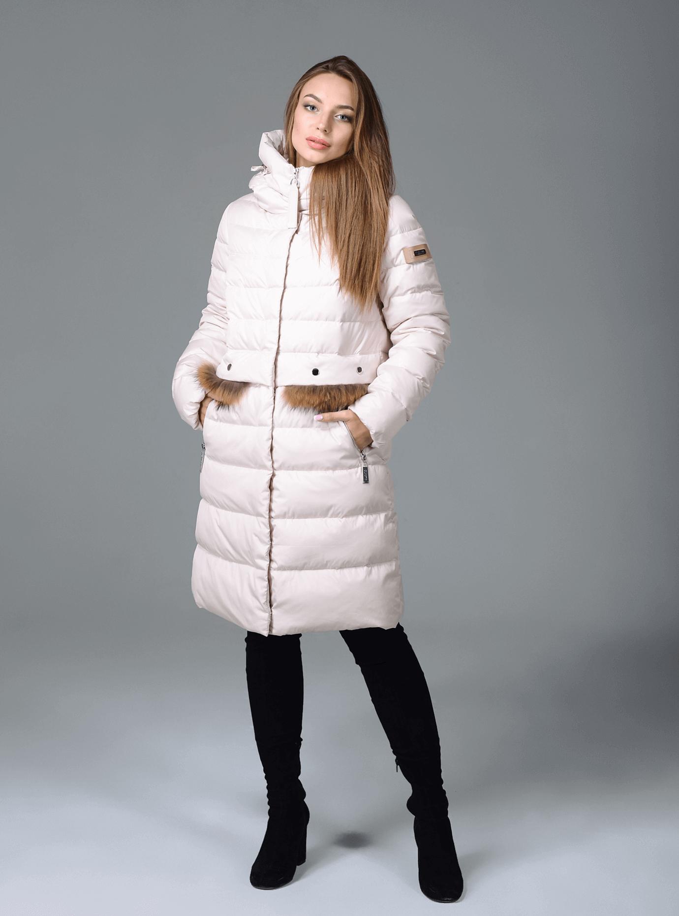 Куртка зимняя женская меховые вставки Чёрный S (02-CR170254): фото - Alster.ua