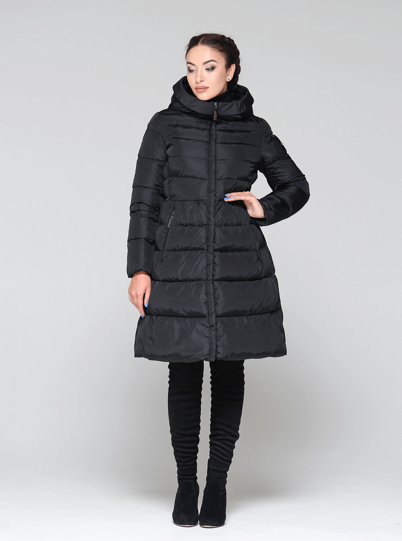 Куртка зимняя женская высокий воротник Чёрный S (02-CR170262): фото - Alster.ua