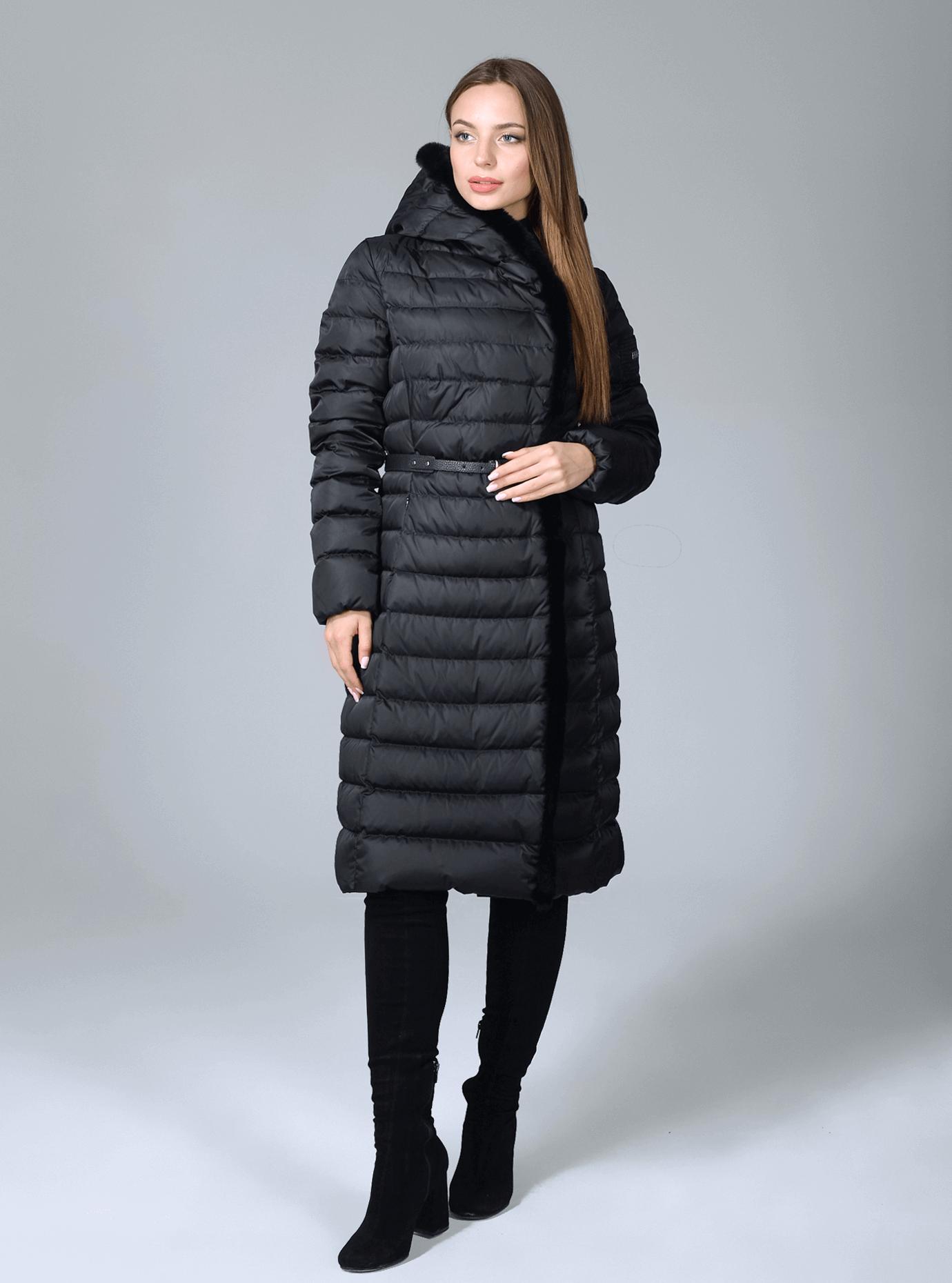 Куртка зимняя женская с меховой отделкой Чёрный S (02-CR170233): фото - Alster.ua