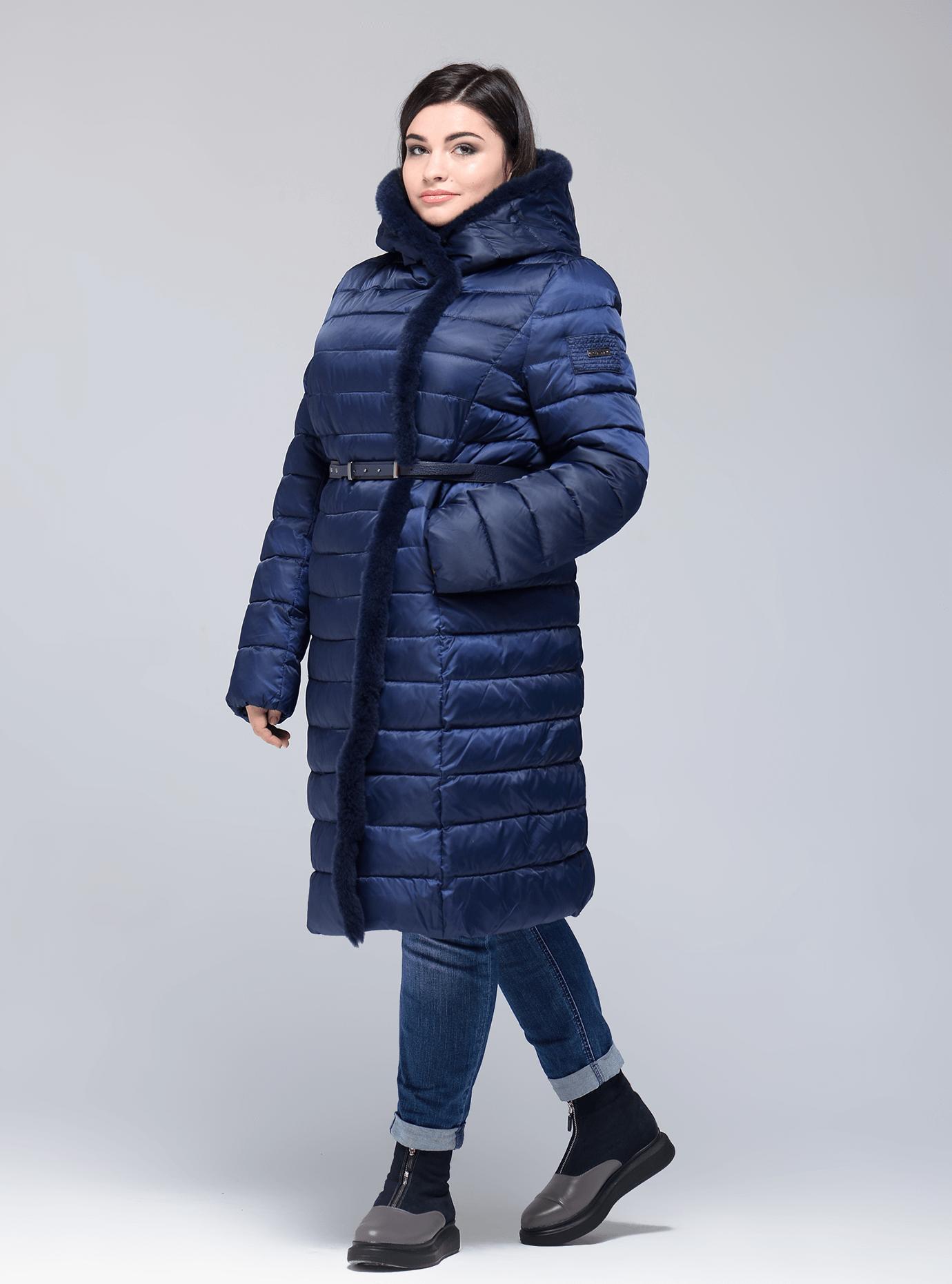 Куртка зимняя женская с меховой отделкой Тёмно-синий 54 (02-CR170111): фото - Alster.ua
