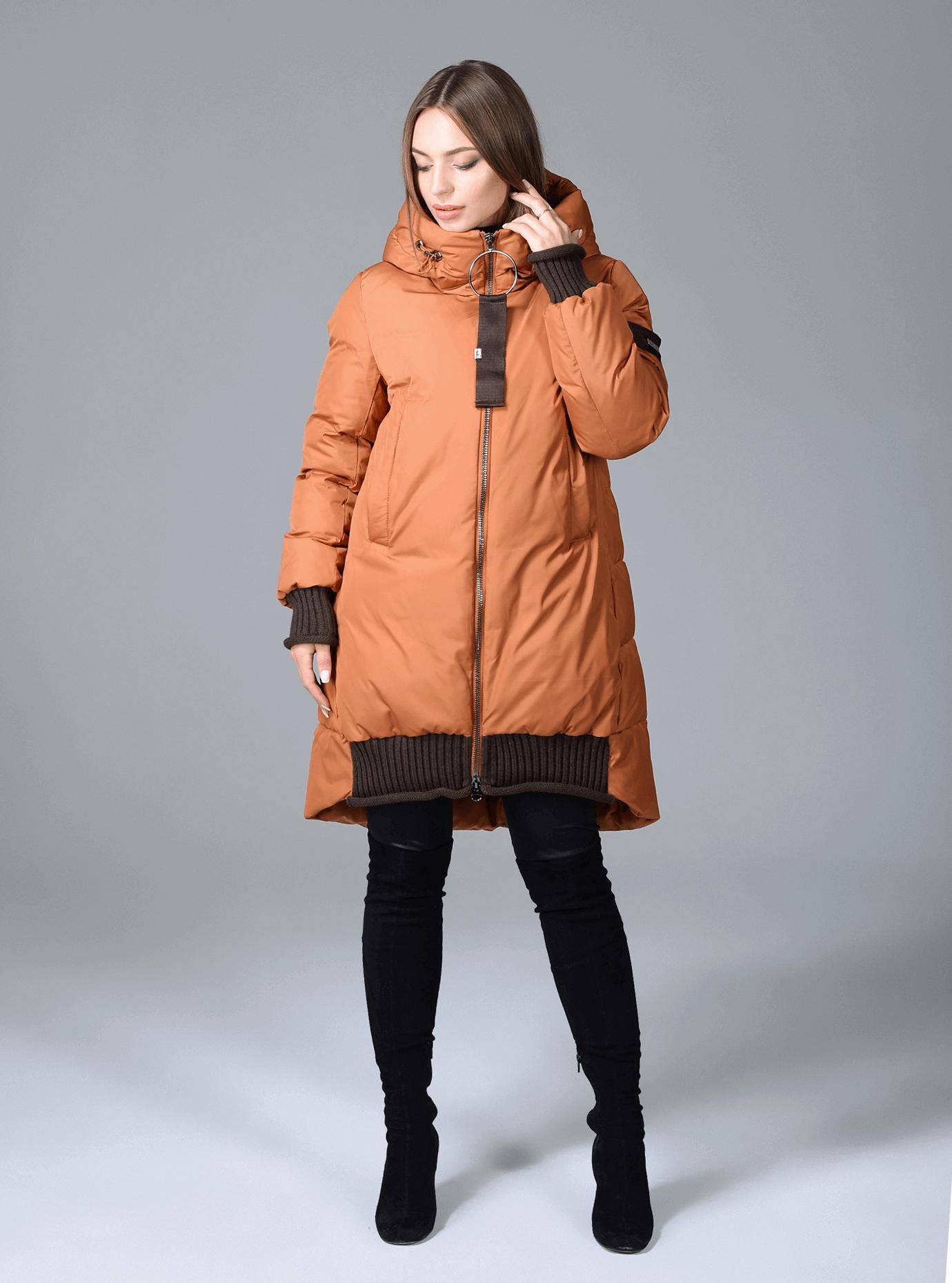 Пуховик женский с капюшоном Оранжевый L (01-9044): фото - Alster.ua