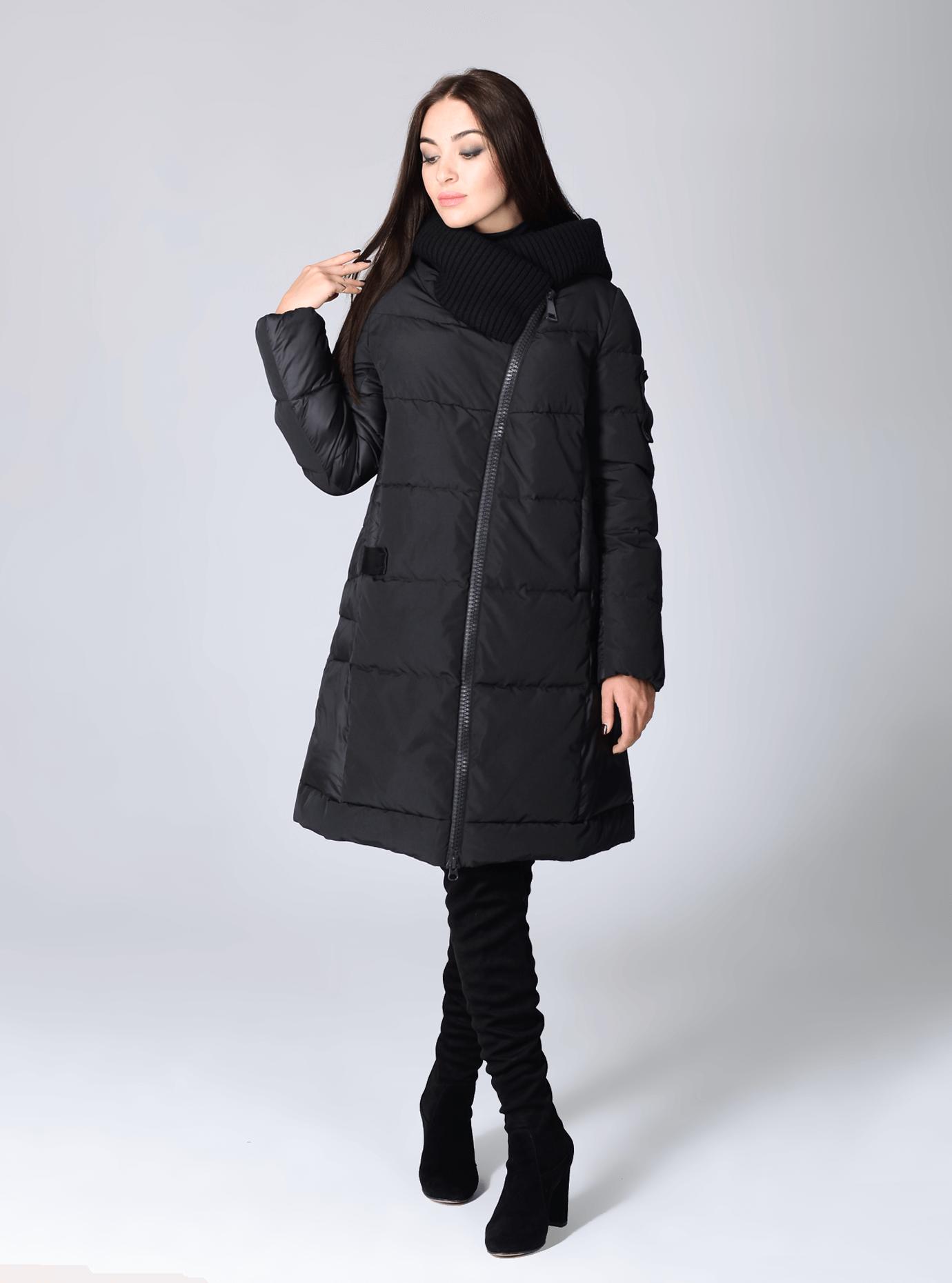 Куртка зимняя женская с довязом Чёрный S (02-CR170280): фото - Alster.ua