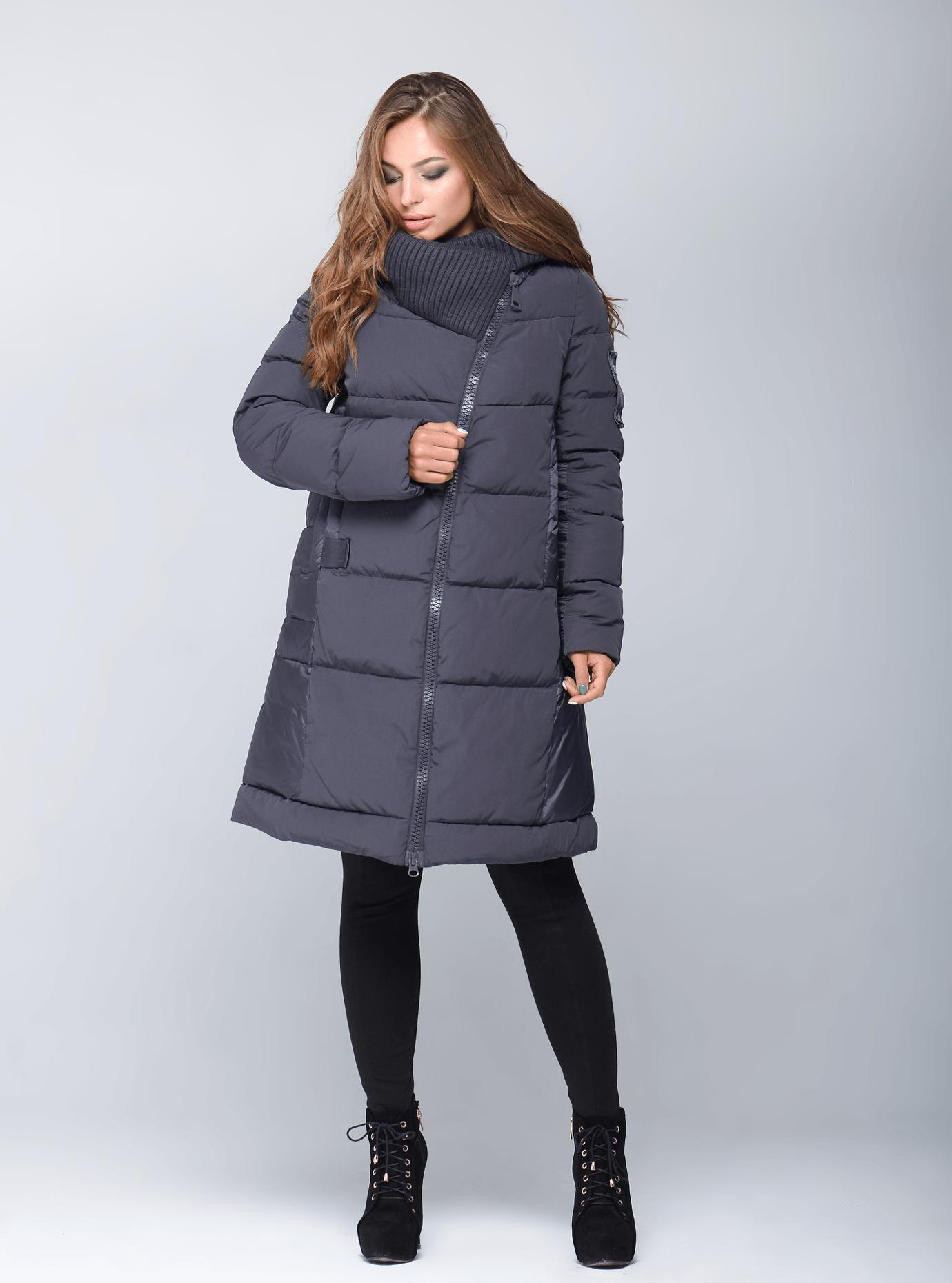 Куртка зимняя женская с довязом Графитовый S (02-CR170176): фото - Alster.ua
