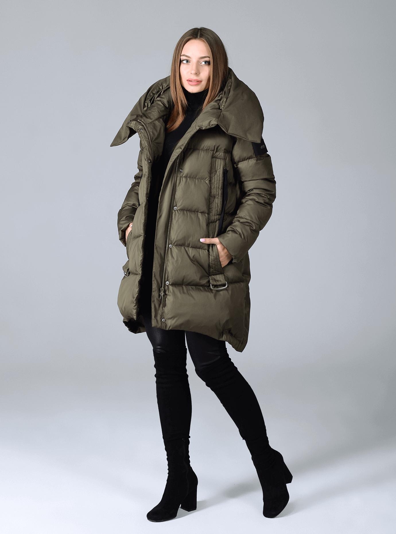 Куртка зимняя женская широкий воротник на магните Чёрный S (02-CR170284): фото - Alster.ua