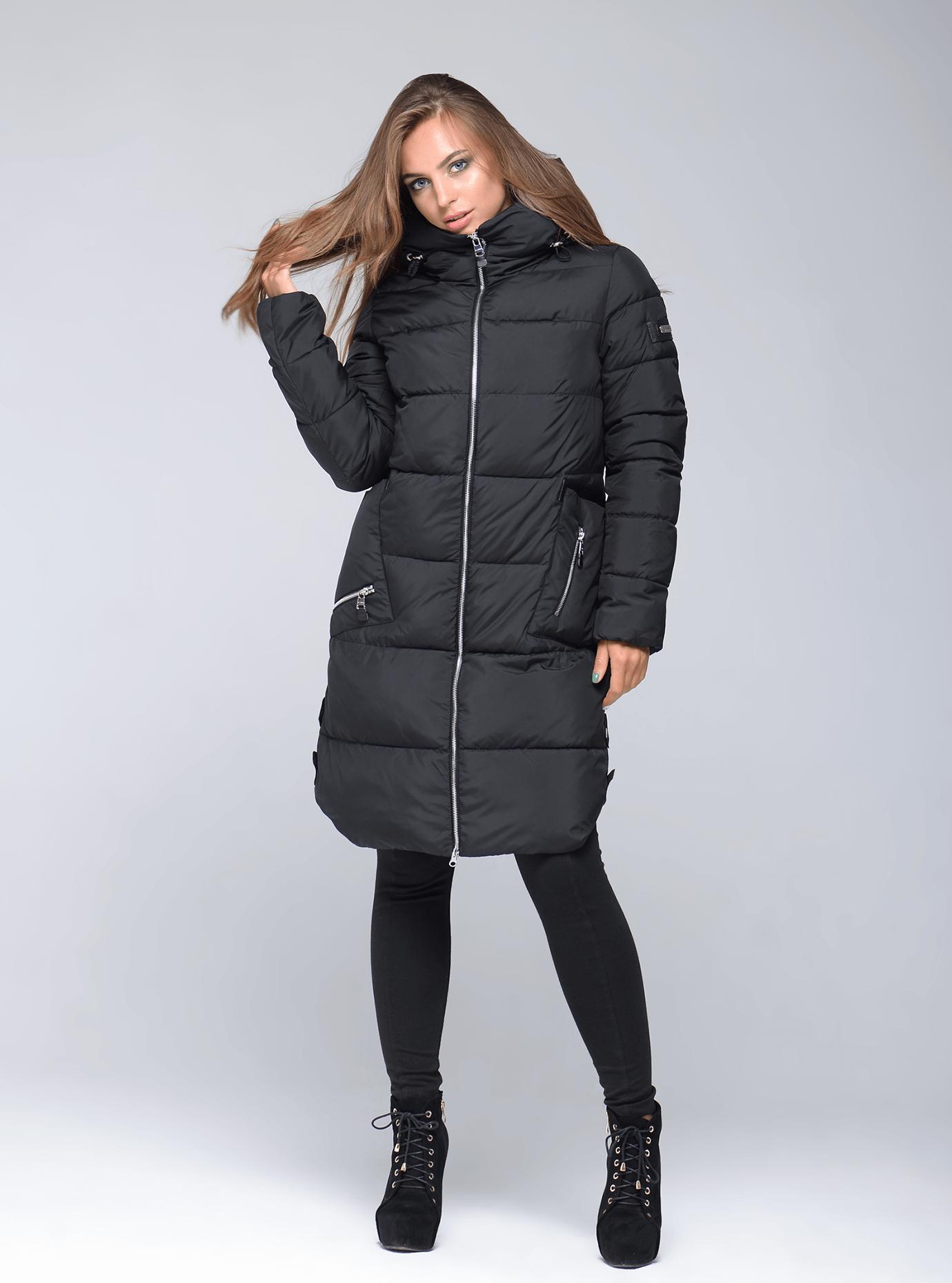 Куртка зимняя женская свободный фасон Чёрный S (02-CR170293): фото - Alster.ua