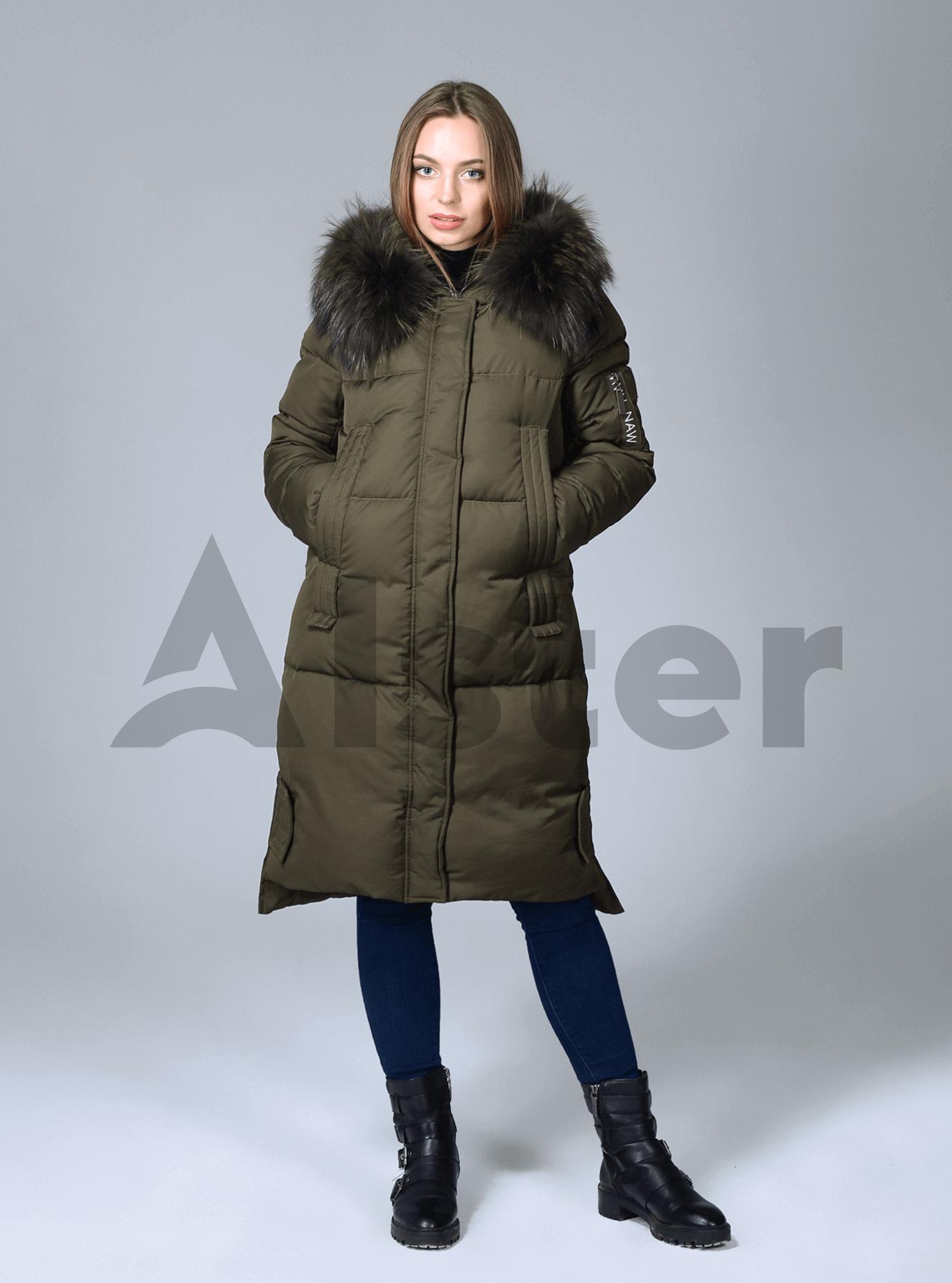 Куртка зимняя женская длинная Хаки S (02-CR170185): фото - Alster.ua