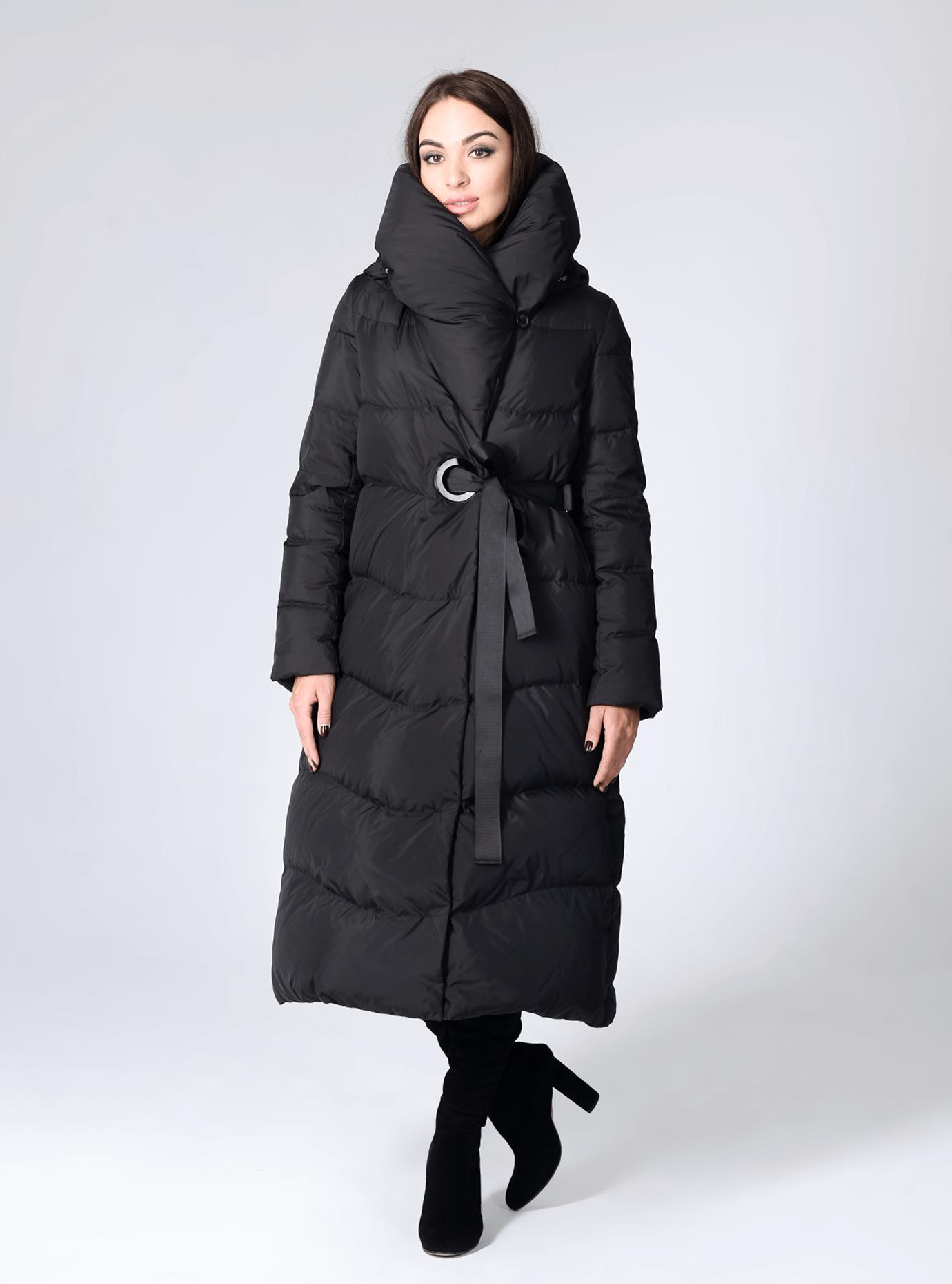 Пуховик женский длинный Чёрный S (02-CR170106): фото - Alster.ua