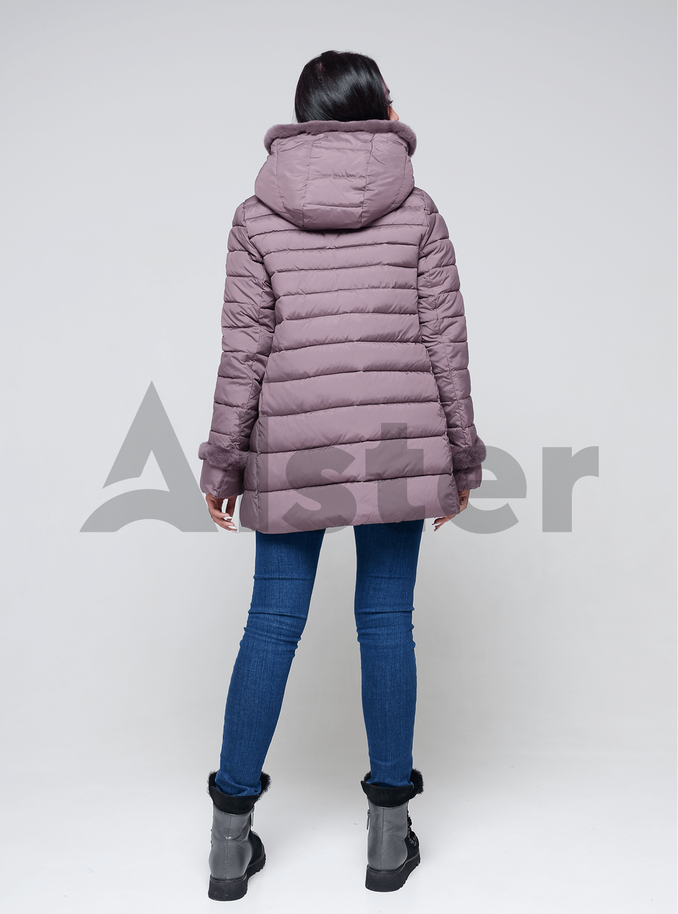 Куртка женская зимняя с мехом кролика Чёрный 48 (02-4646): фото - Alster.ua