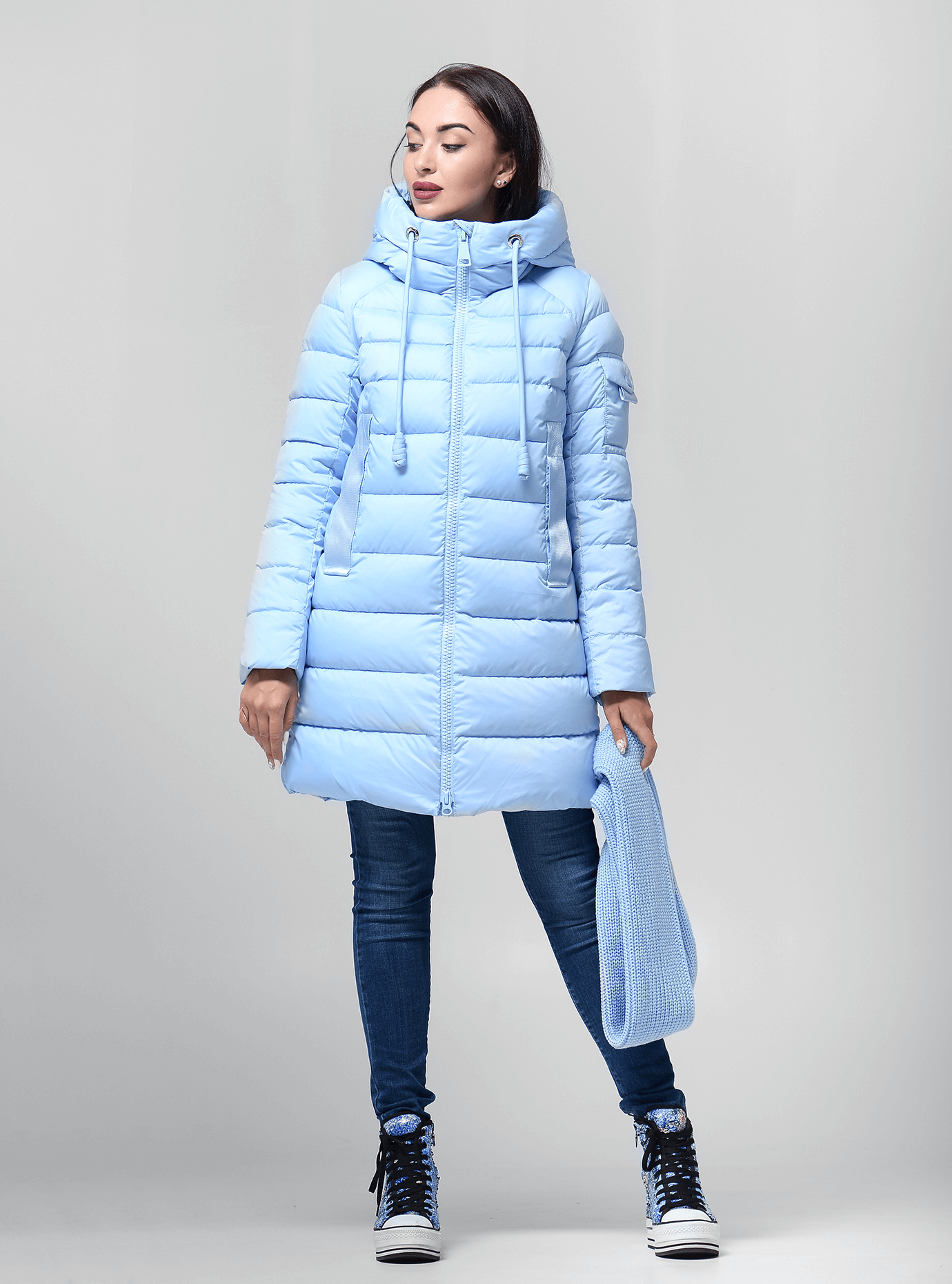 Пуховик женский с капюшоном Светло-голубой XL (02-4678): фото - Alster.ua
