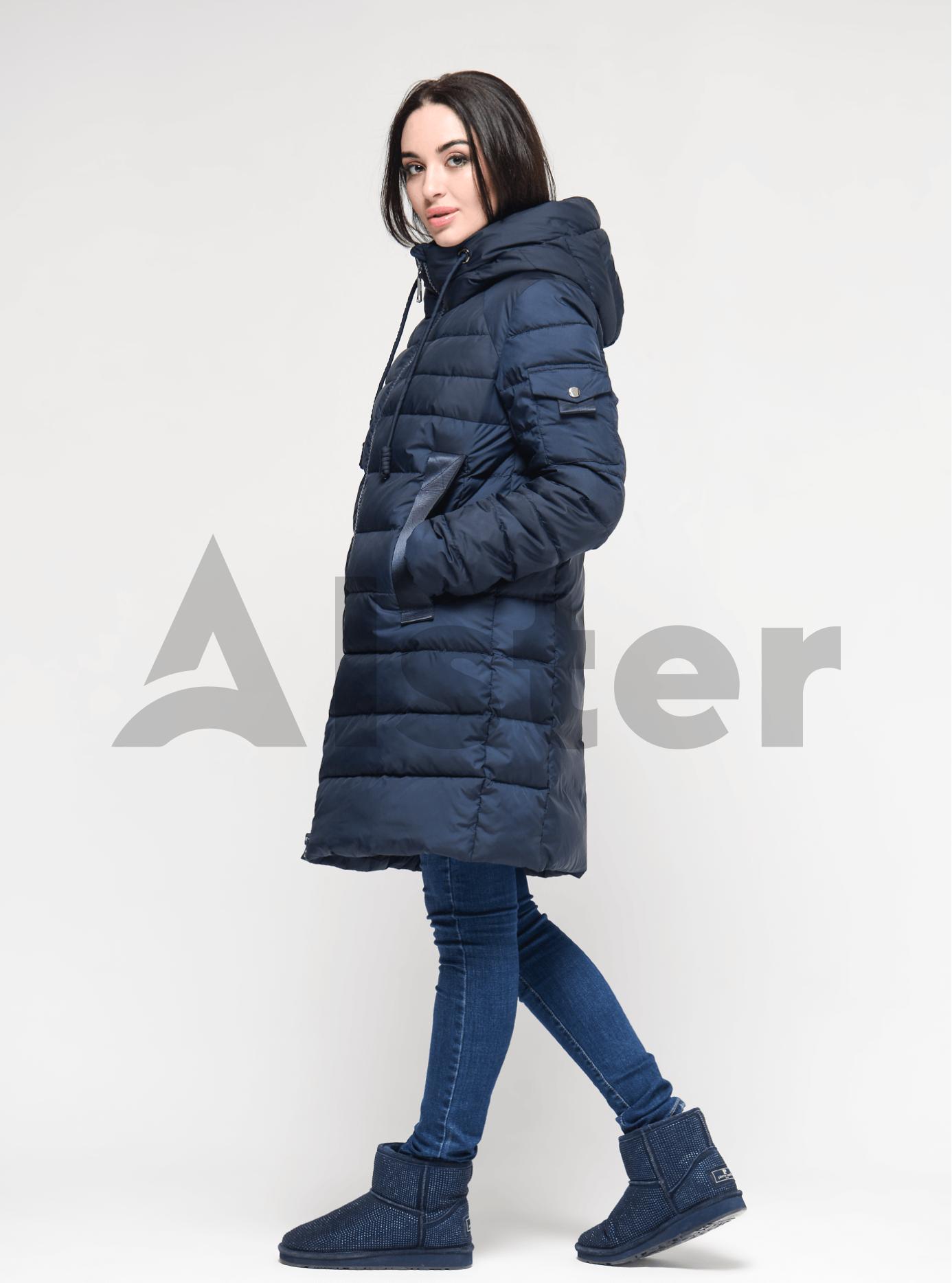 Пуховик женский с капюшоном Синий XL (01-9051): фото - Alster.ua