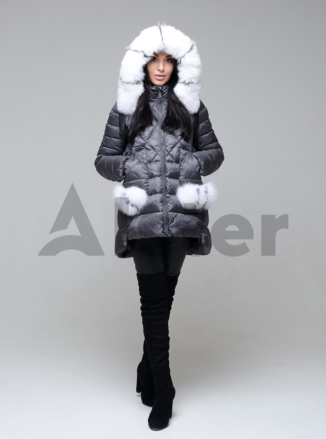 Куртка зимняя женская с мехом Графитовый M (01-9060): фото - Alster.ua