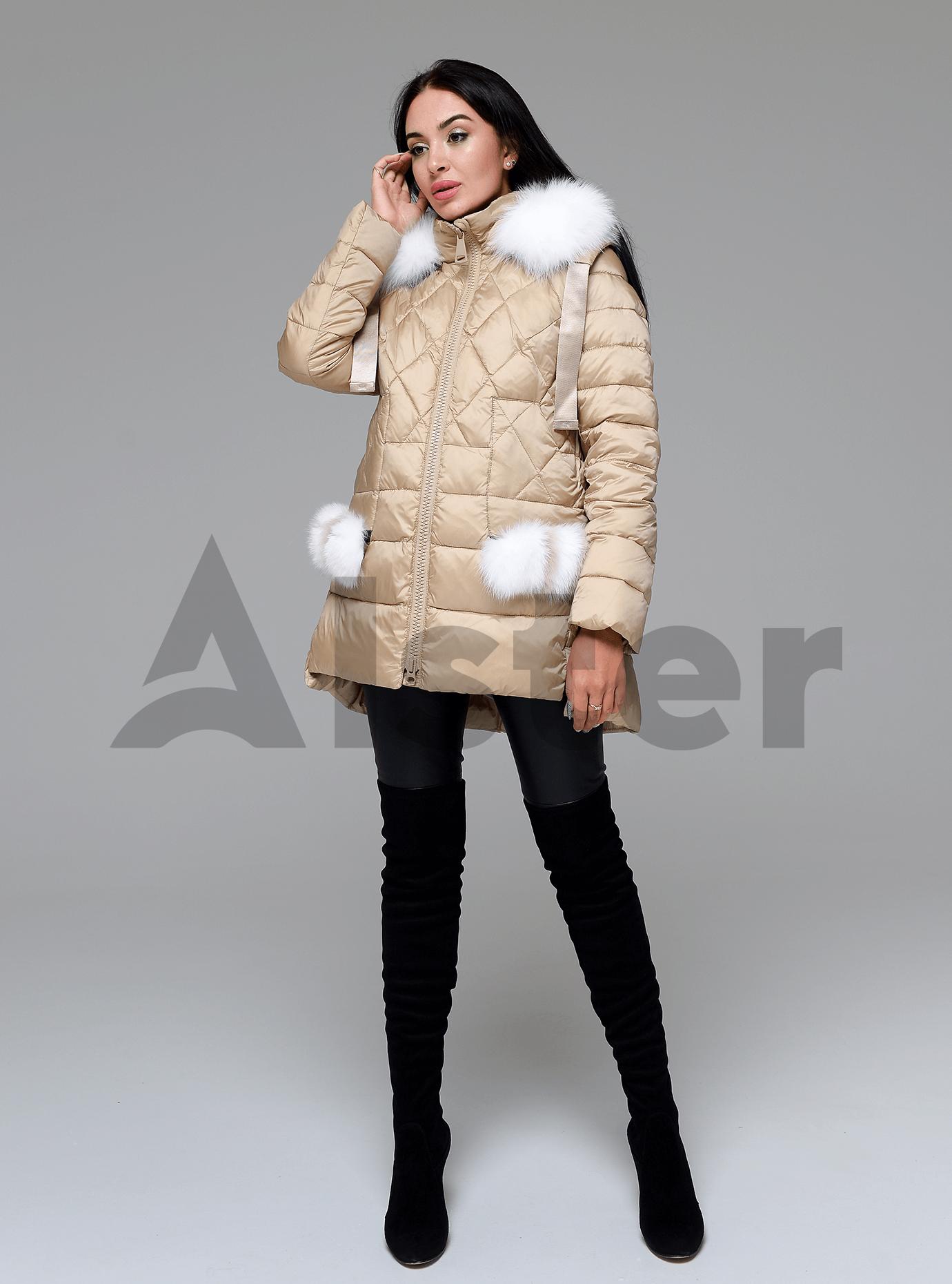 Куртка зимняя женская с мехом Бежевый 2XL (02-4707): фото - Alster.ua