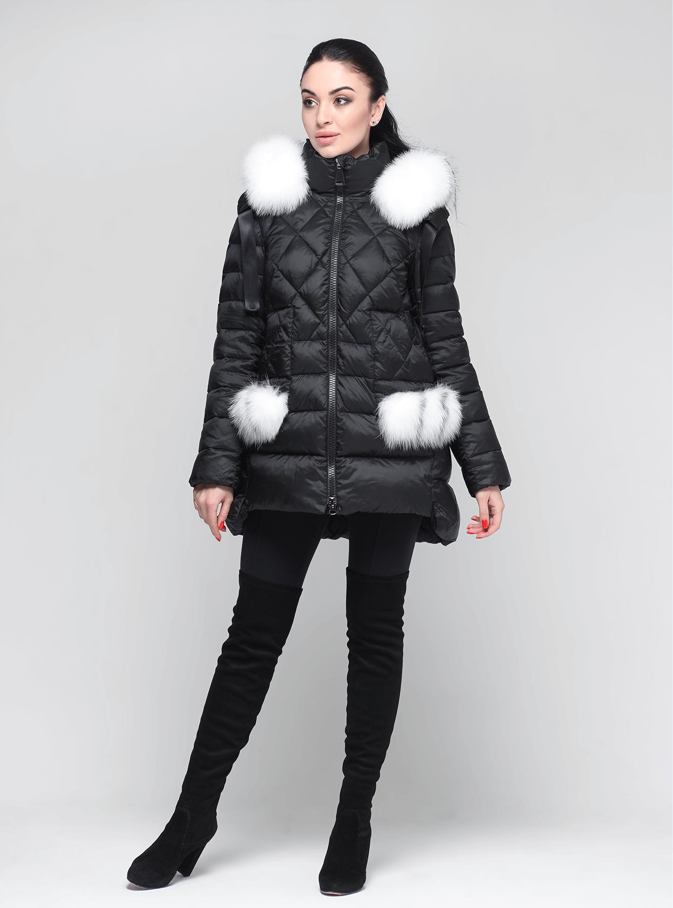 Куртка зимняя женская с мехом Чёрный M (01-9057): фото - Alster.ua