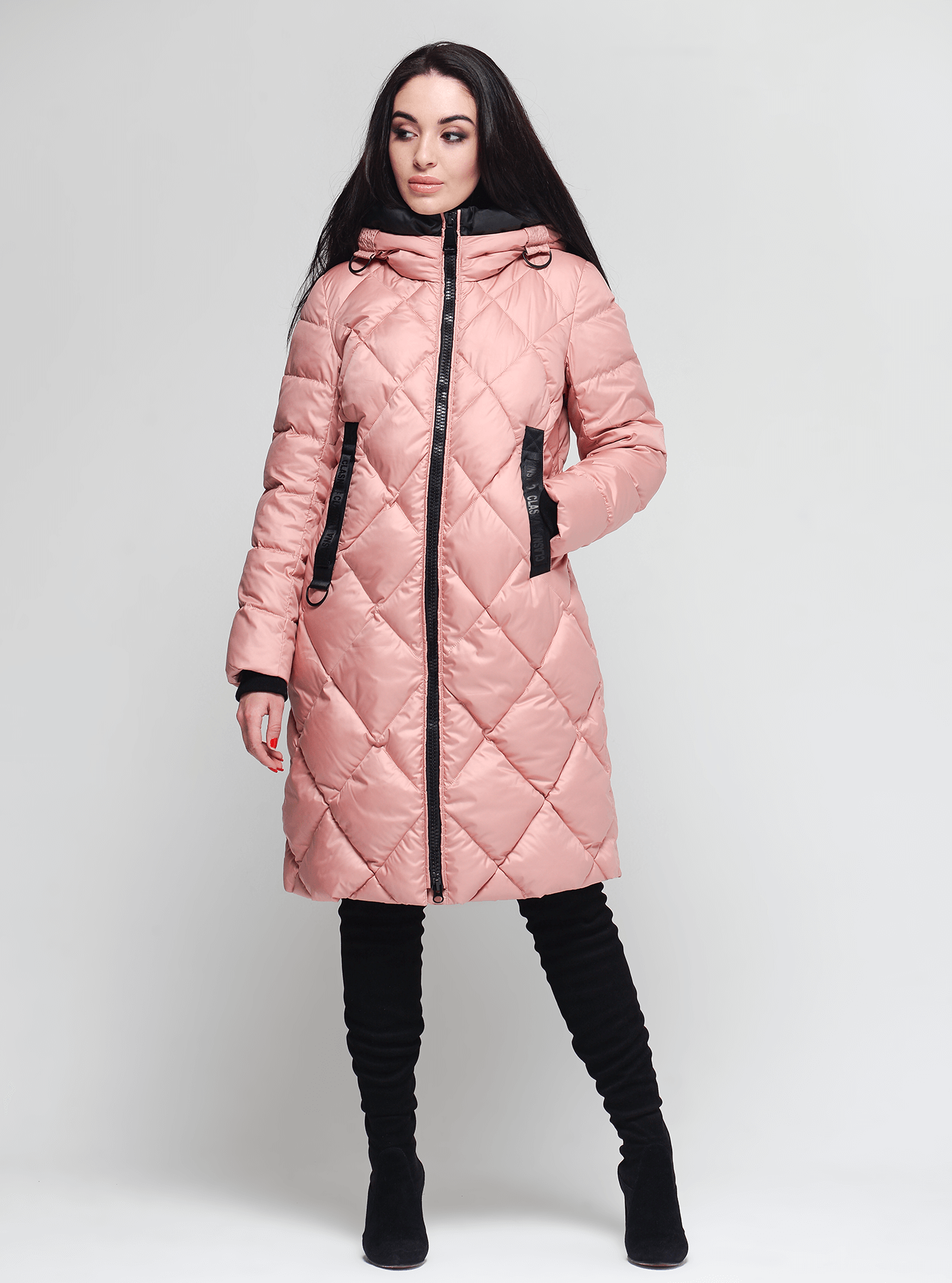 Жіноча зимова куртка Персиковий S (02-190298): фото - Alster.ua