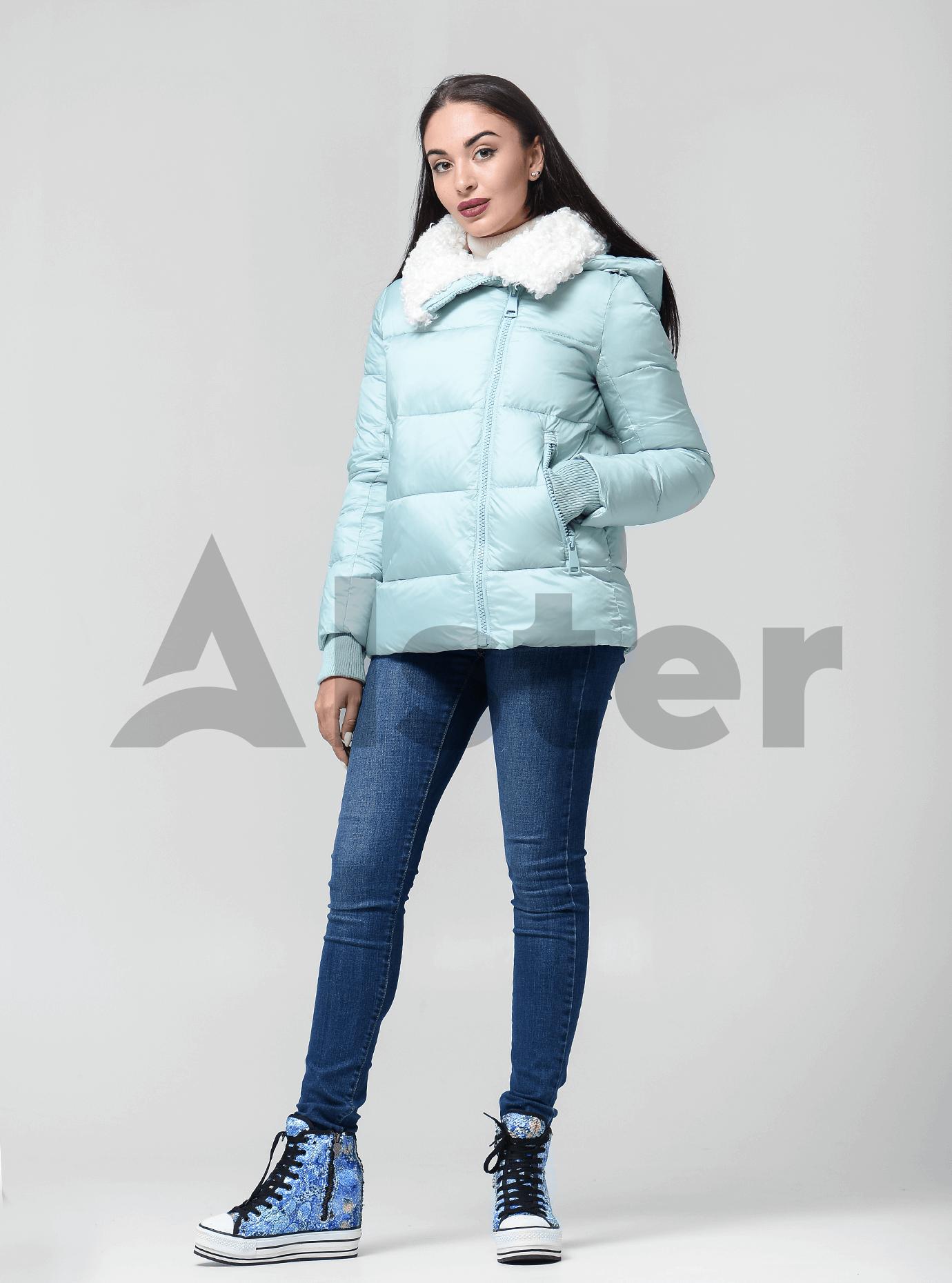 Куртка женская зимняя с искусственным мехом Голубой L (02-4644): фото - Alster.ua
