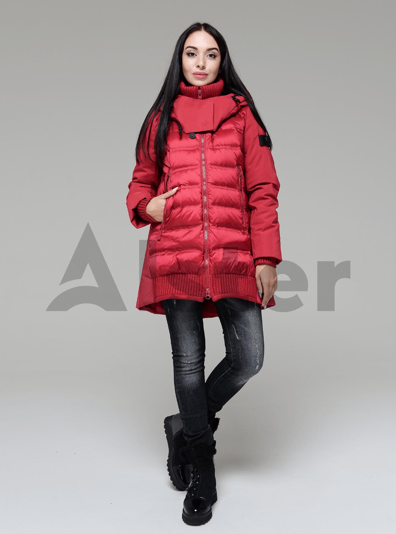 Пуховик женский с натуральным пухом Красный S (02-4653): фото - Alster.ua
