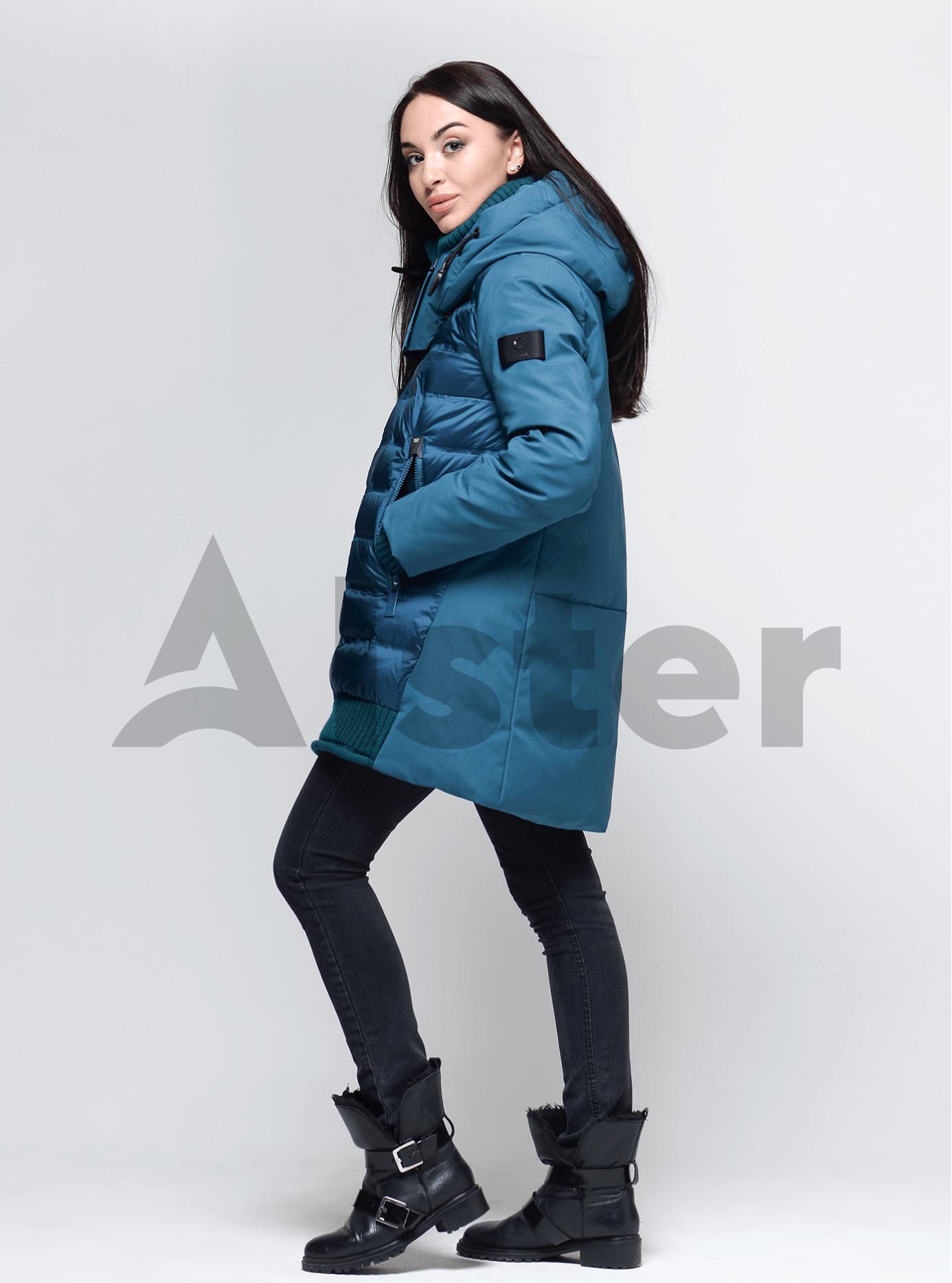 Пуховик женский с натуральным пухом Тёмно-голубой L (02-4665): фото - Alster.ua