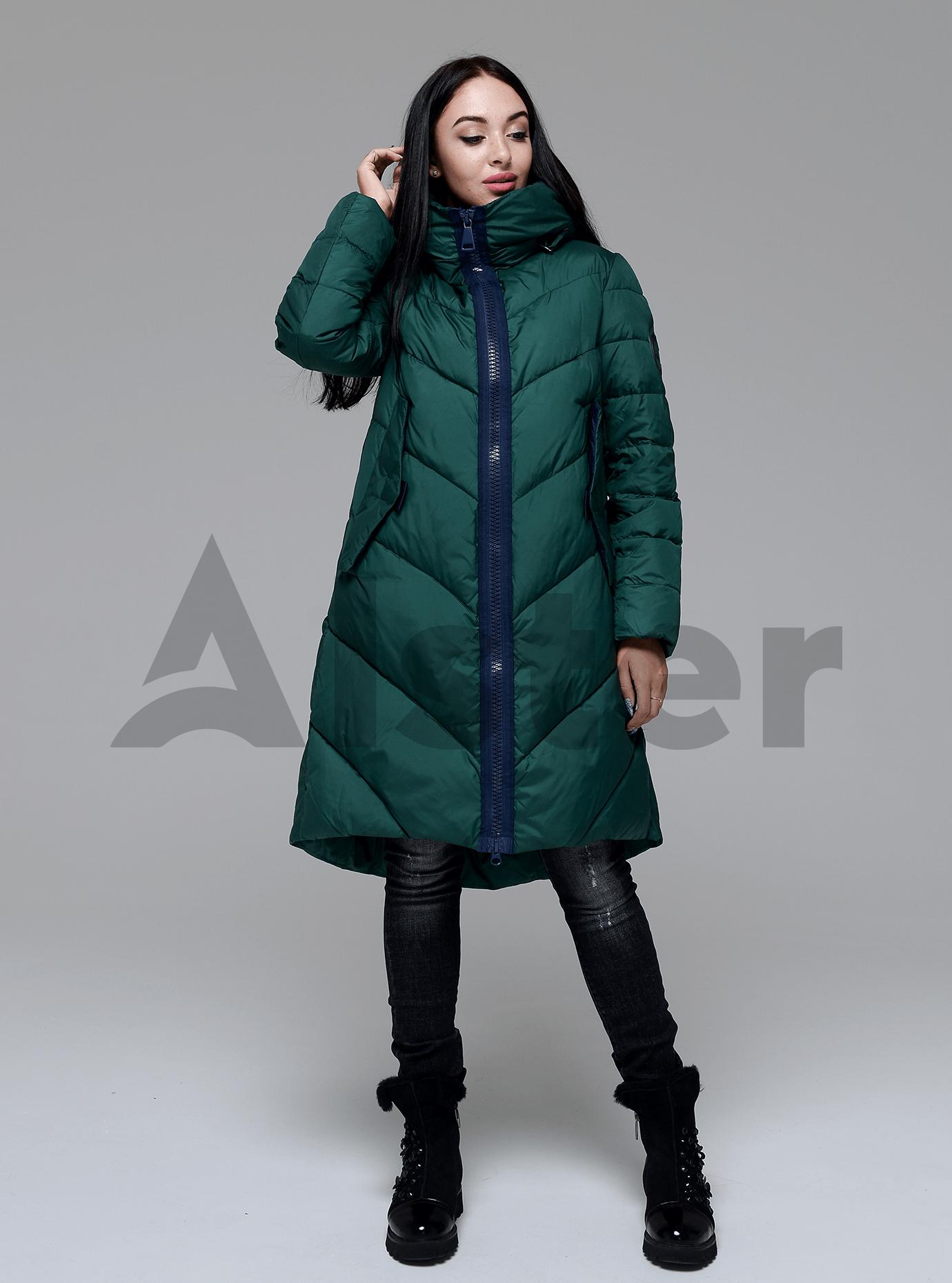 Пуховик стеганый женский Тёмно-зелёный S (02-4634): фото - Alster.ua