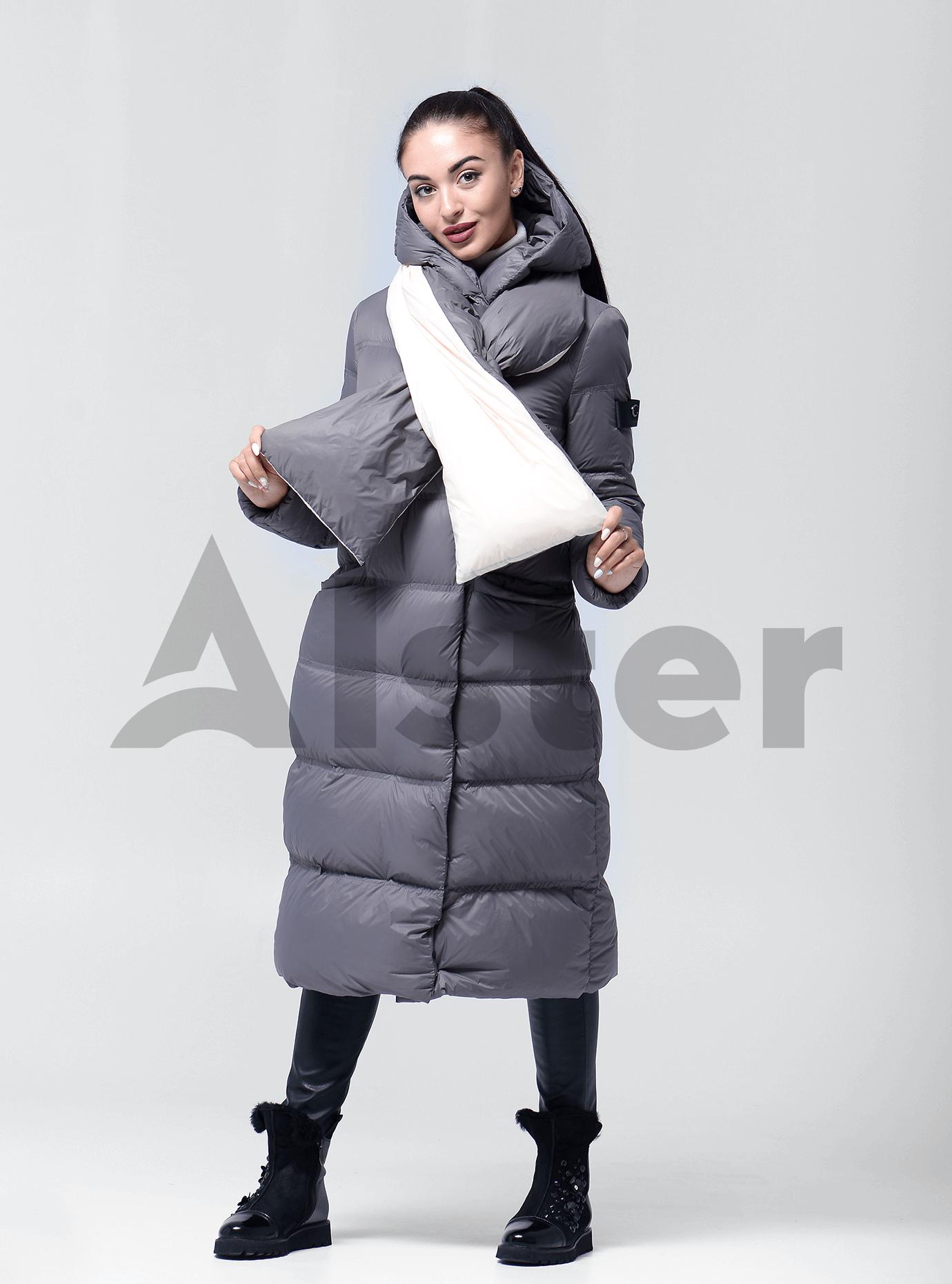 Пуховик женский с капюшоном Серый XL (02-4623): фото - Alster.ua