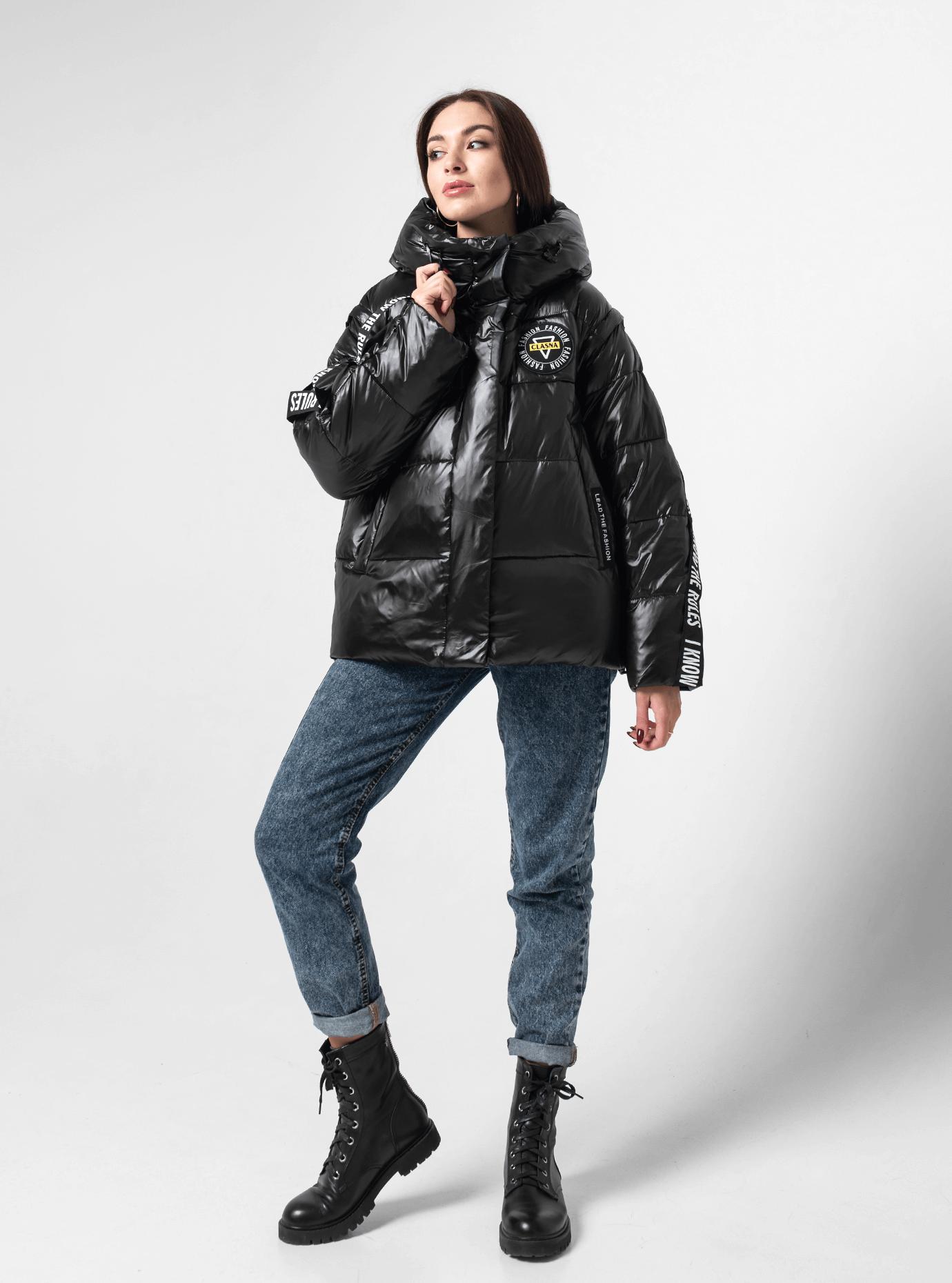 Куртка зимняя однотонная Чёрный M (02-190143): фото - Alster.ua