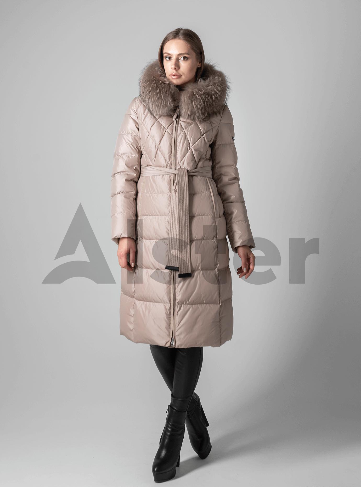 Зимняя женская куртка стёганая с мехом Бежевый L (02-190161): фото - Alster.ua