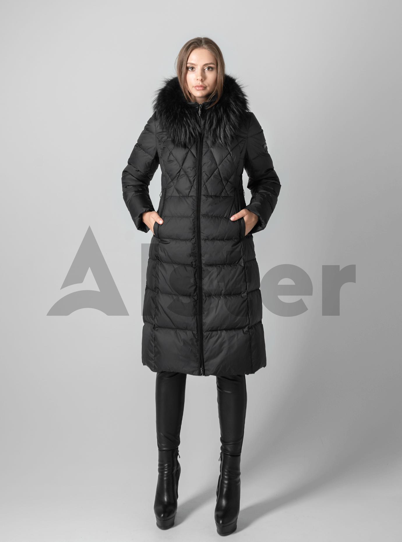 Зимняя женская куртка стёганая с мехом Чёрный M (02-190158): фото - Alster.ua