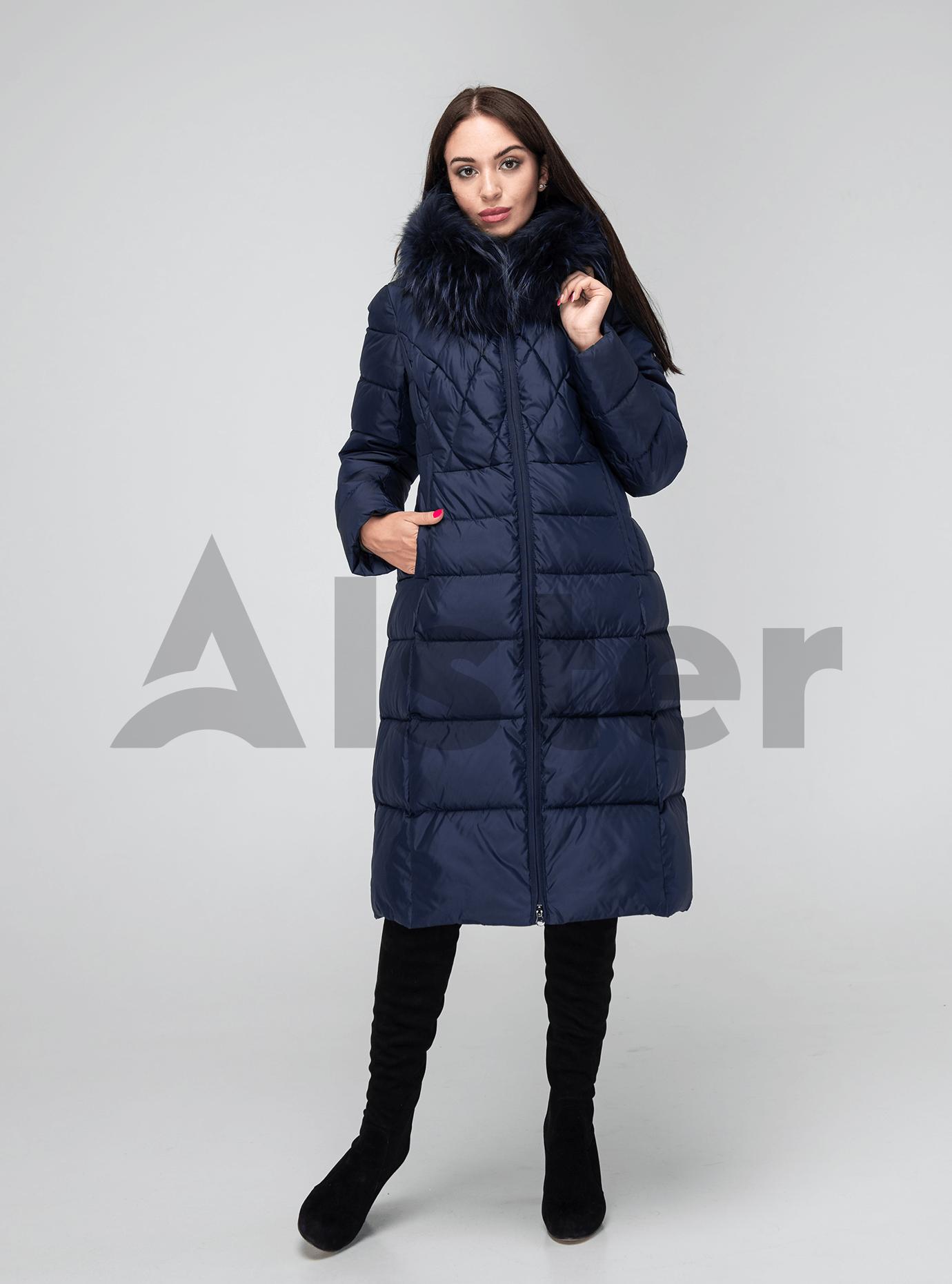 Зимняя женская куртка стёганая с мехом Тёмно синий M (02-190156): фото - Alster.ua