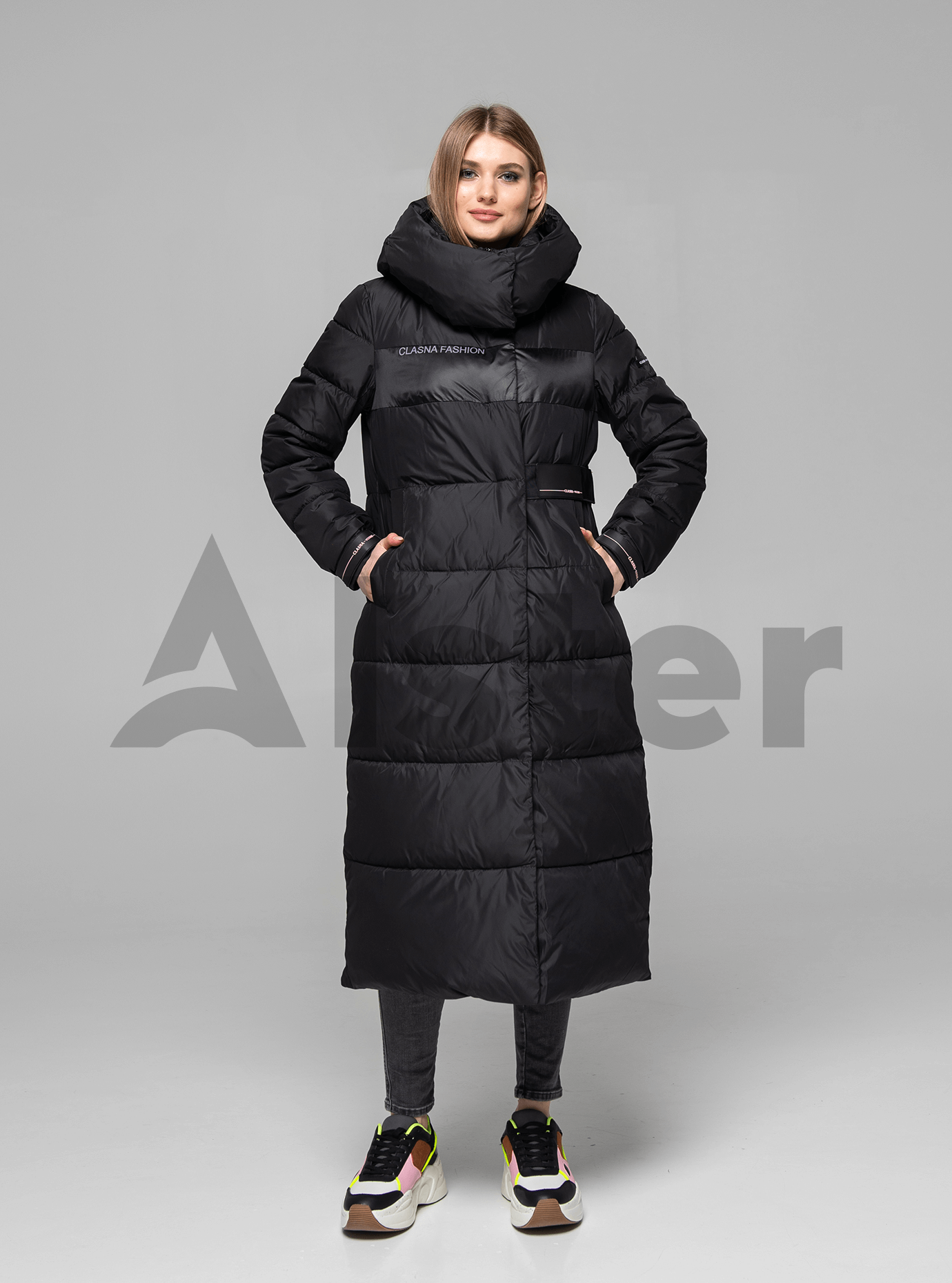 Пуховик женский длинный с капюшоном Чёрный M (01-8987): фото - Alster.ua
