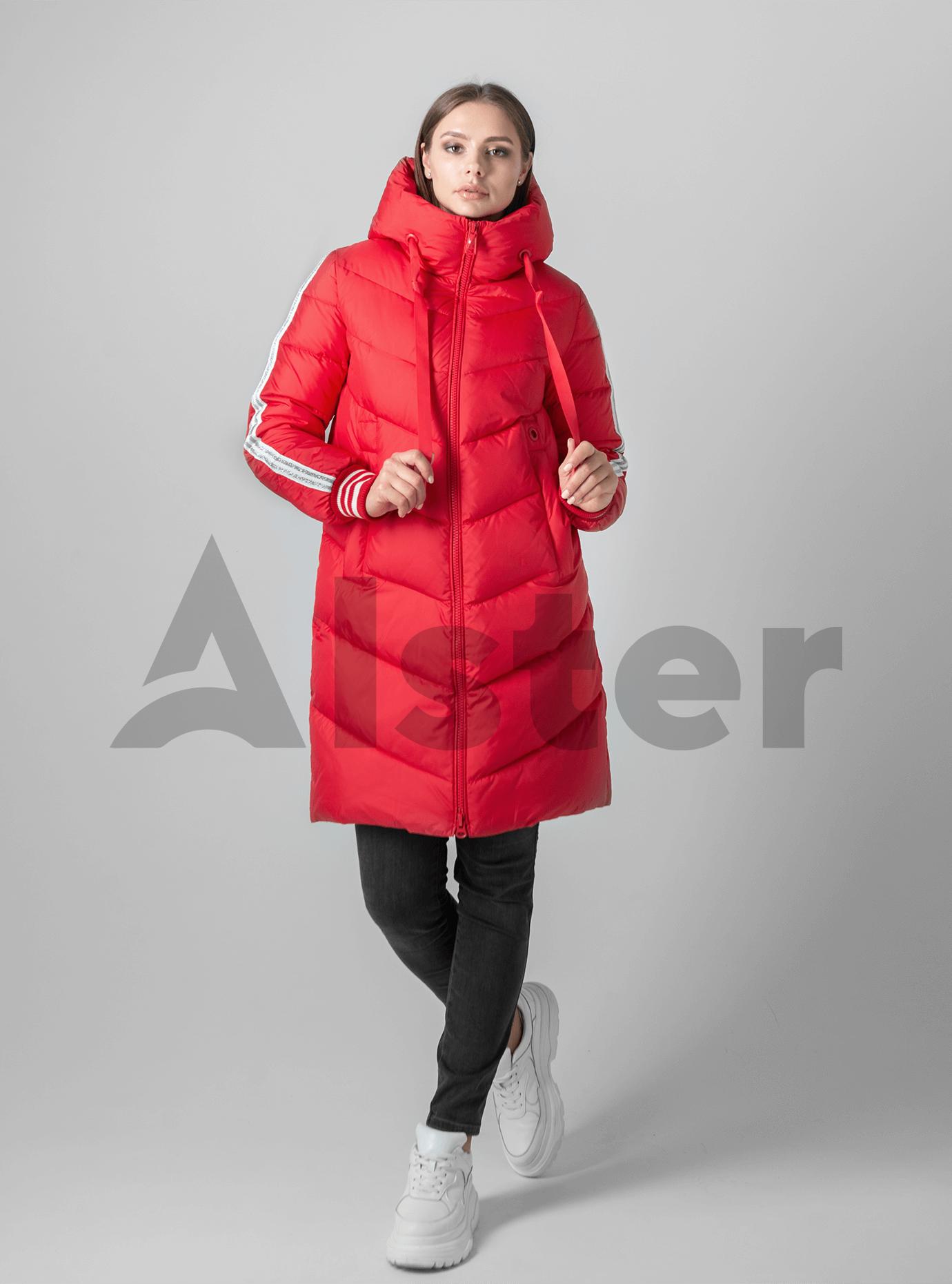 Пуховик женский с шарфом Красный 2XL (02-4599): фото - Alster.ua