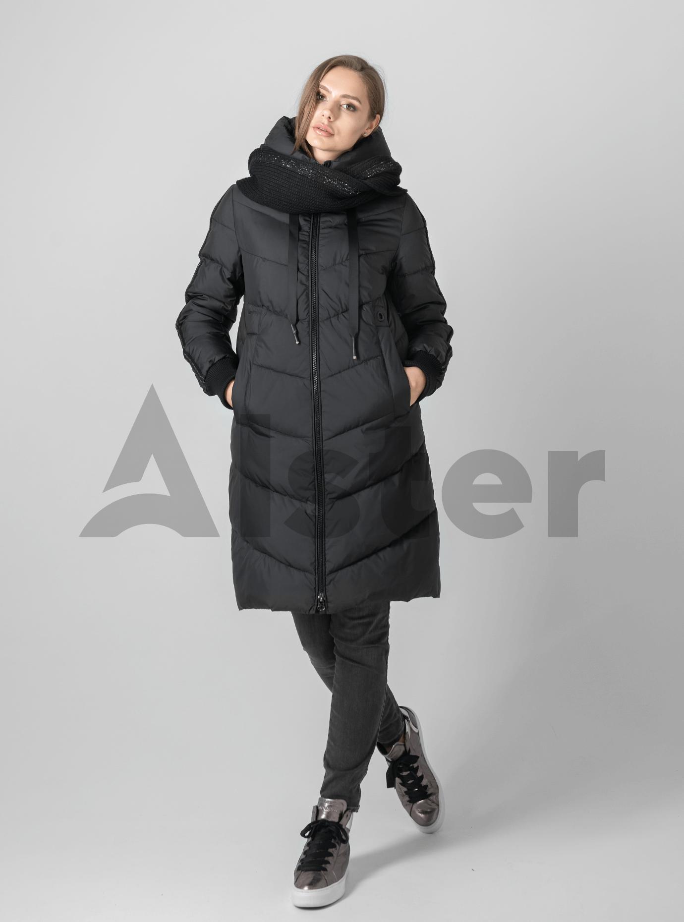 Пуховик женский с шарфом Чёрный S (01-9023): фото - Alster.ua