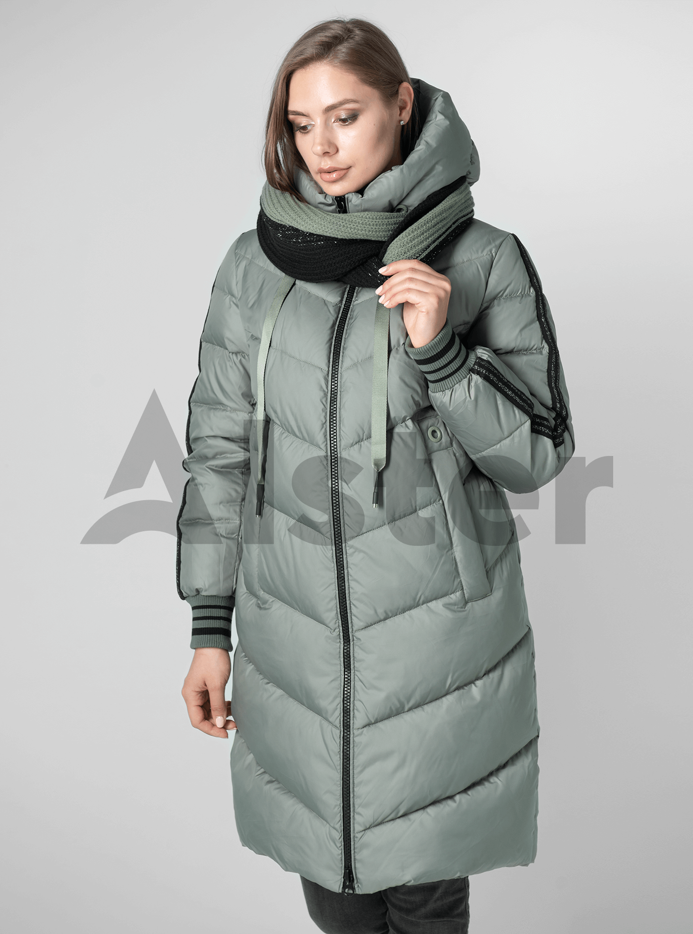 Пуховик женский с шарфом Серо-зелёный M (01-9022): фото - Alster.ua