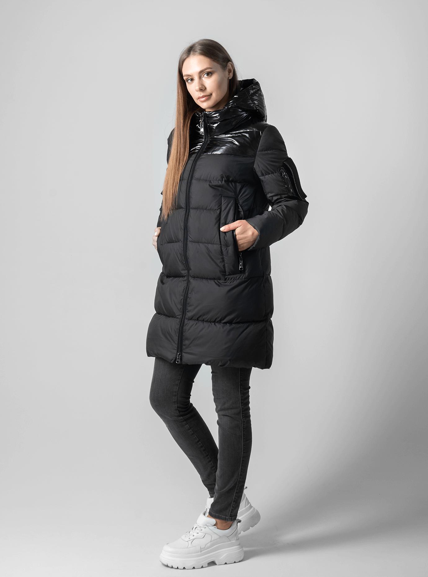 Пуховик женский с капюшоном Чёрный XL (02-4610): фото - Alster.ua