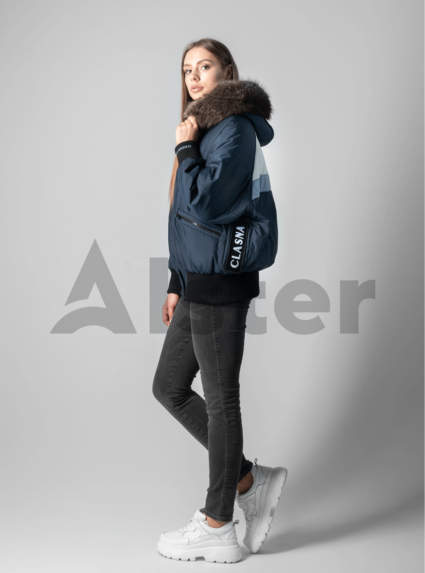 Зимняя женская куртка с мехом Тёмно синий L (02-190166): фото - Alster.ua