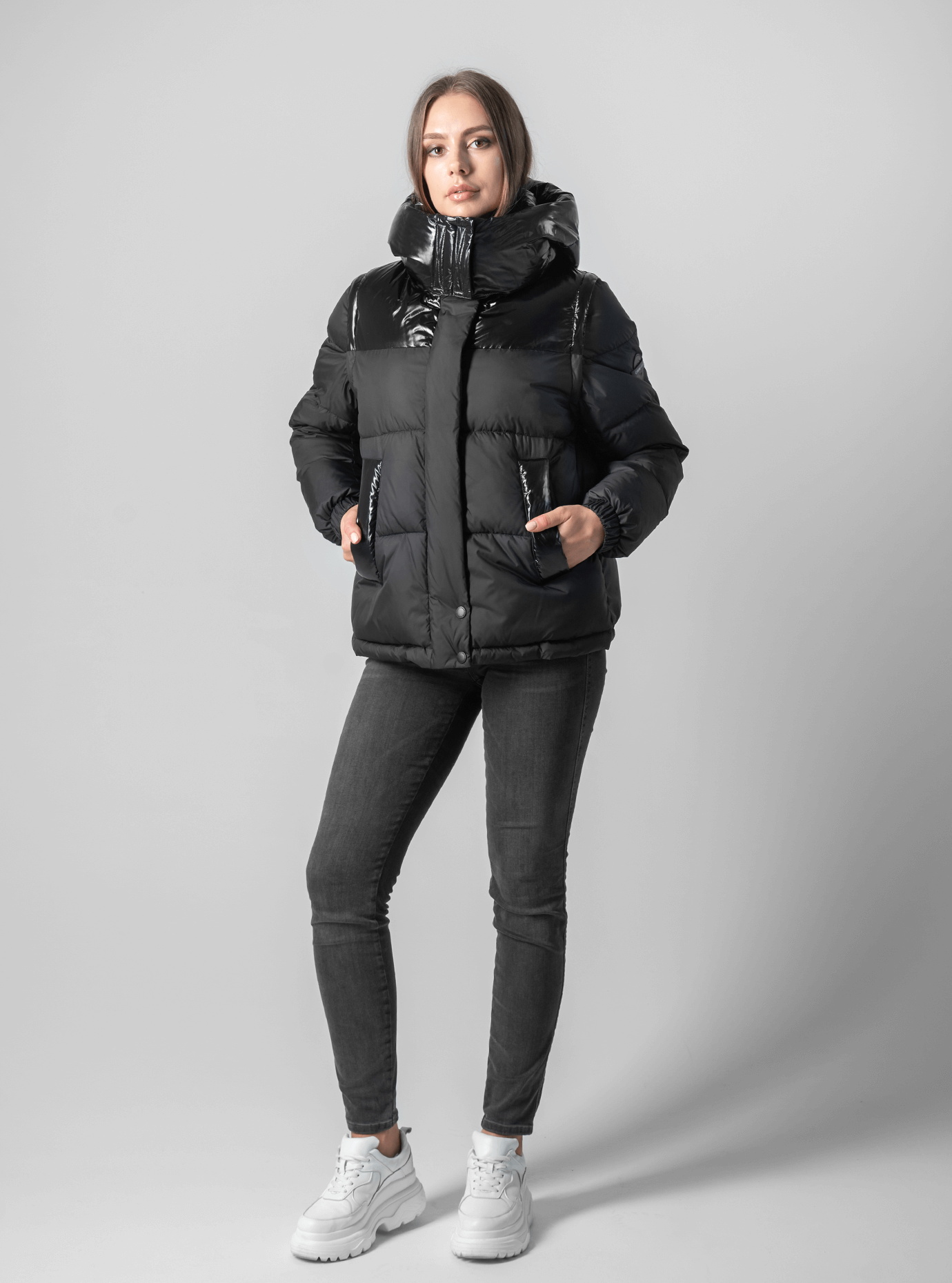 Куртка с лаковыми вставками Чёрный L (02-190121): фото - Alster.ua