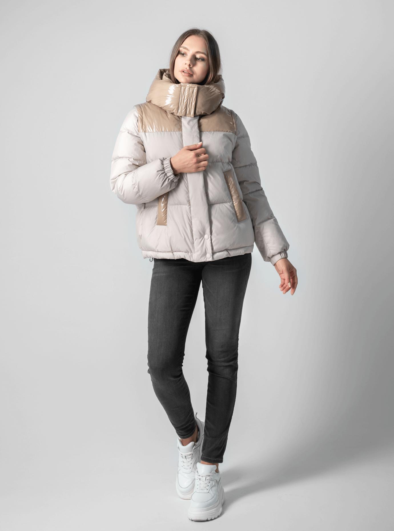 Куртка с лаковыми вставками Бежевый S (02-190116): фото - Alster.ua