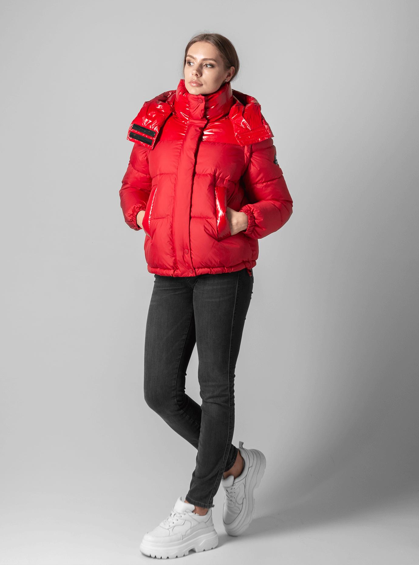 Куртка с лаковыми вставками Красный S (02-190123): фото - Alster.ua