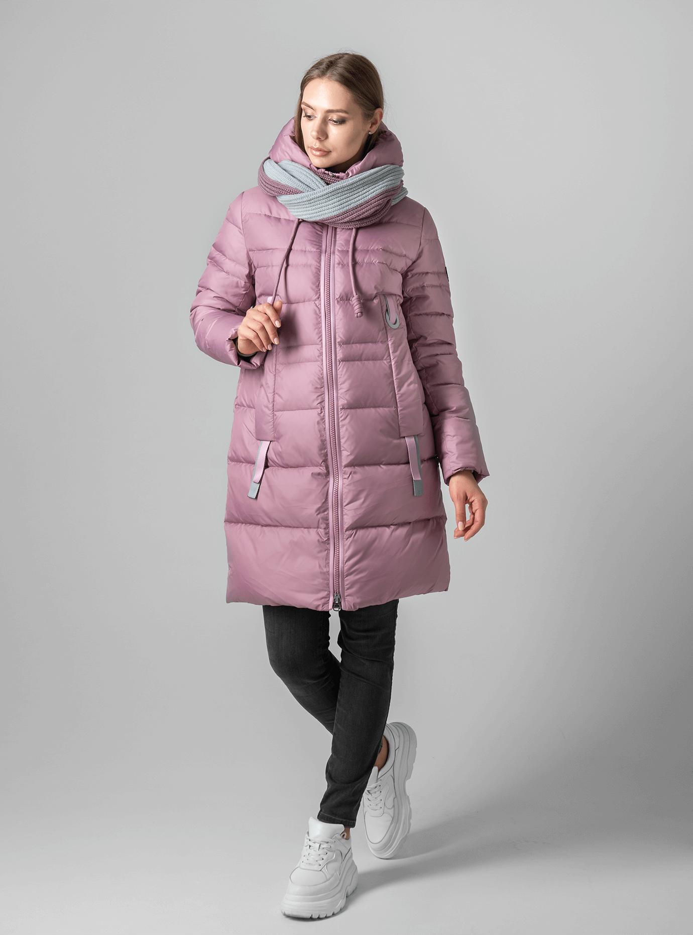 Женская зимняя куртка-снуд Пудровый 2XL (02-190189): фото - Alster.ua