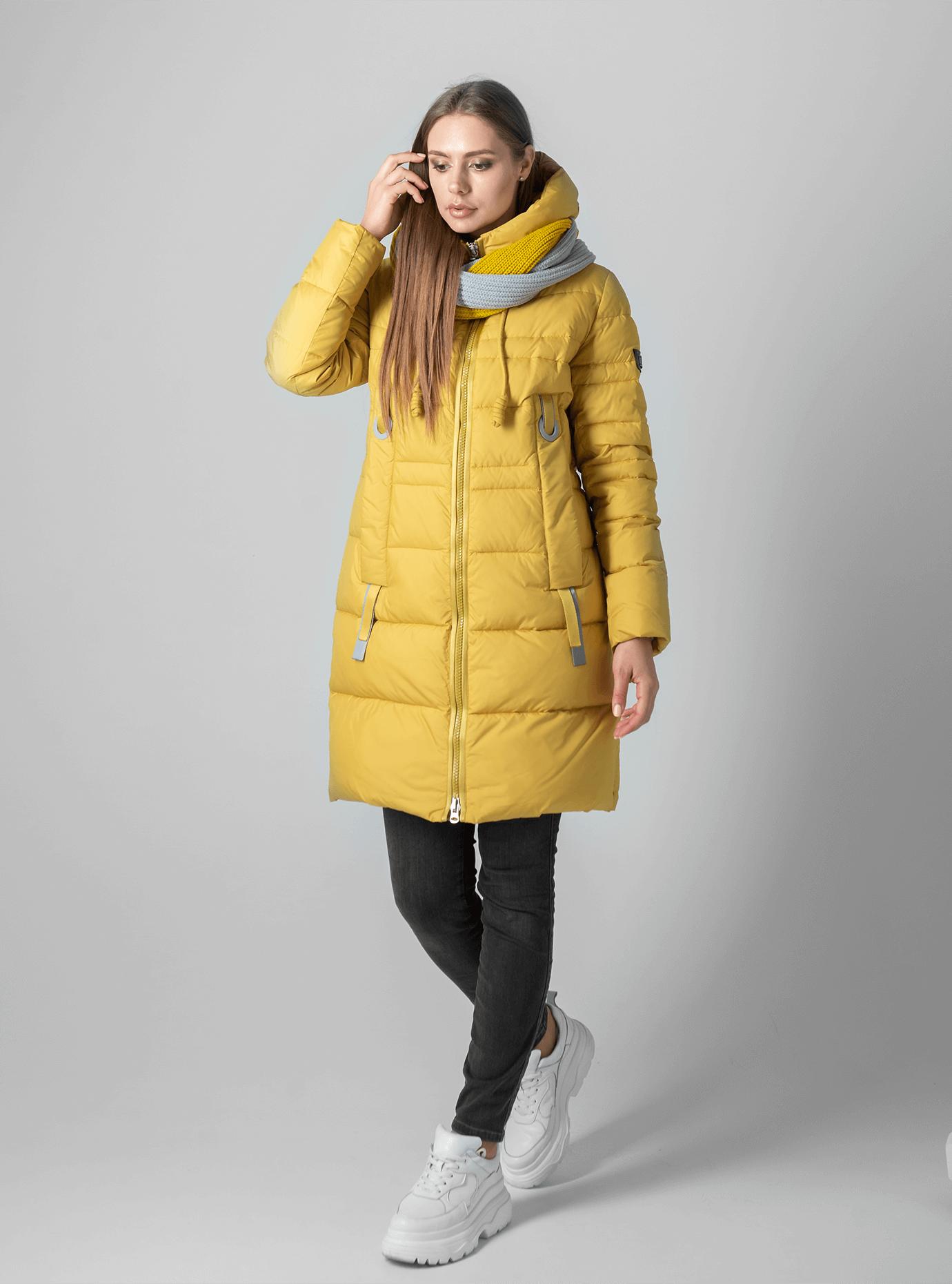 Женская зимняя куртка-снуд Жёлтый XL (02-190190): фото - Alster.ua