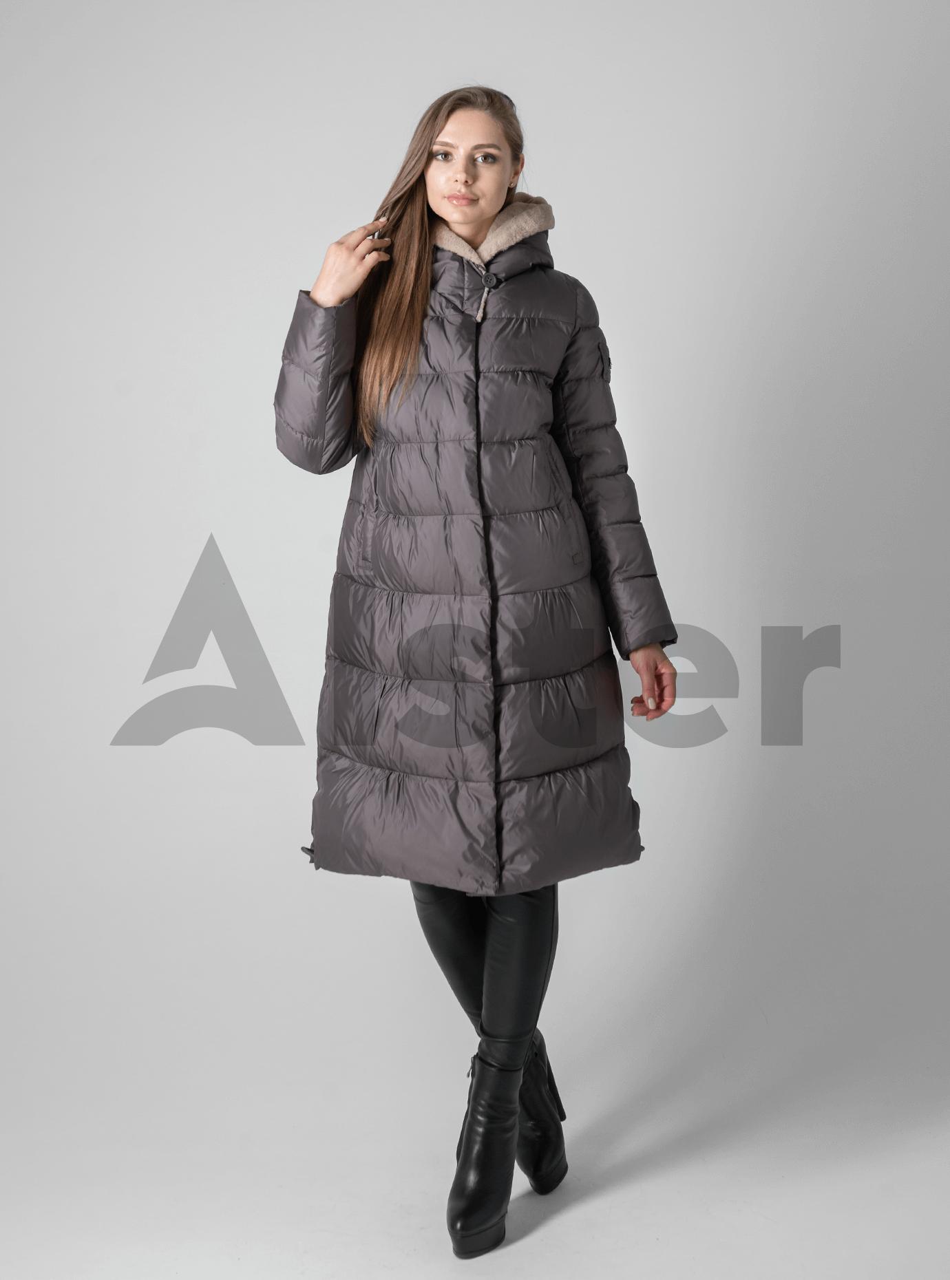 Куртка зимняя с мехом однотонная Бронзовый M (02-190128): фото - Alster.ua