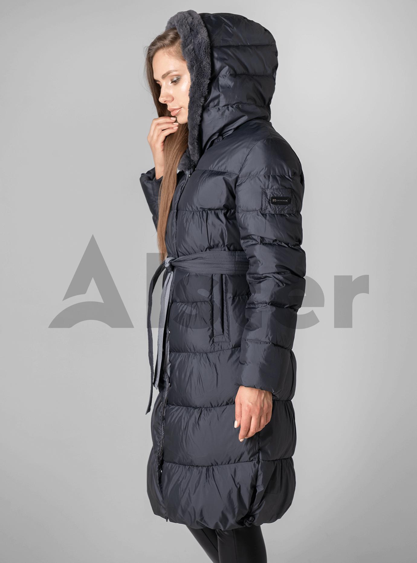 Куртка зимняя с мехом однотонная Графитовый 3XL (02-190137): фото - Alster.ua
