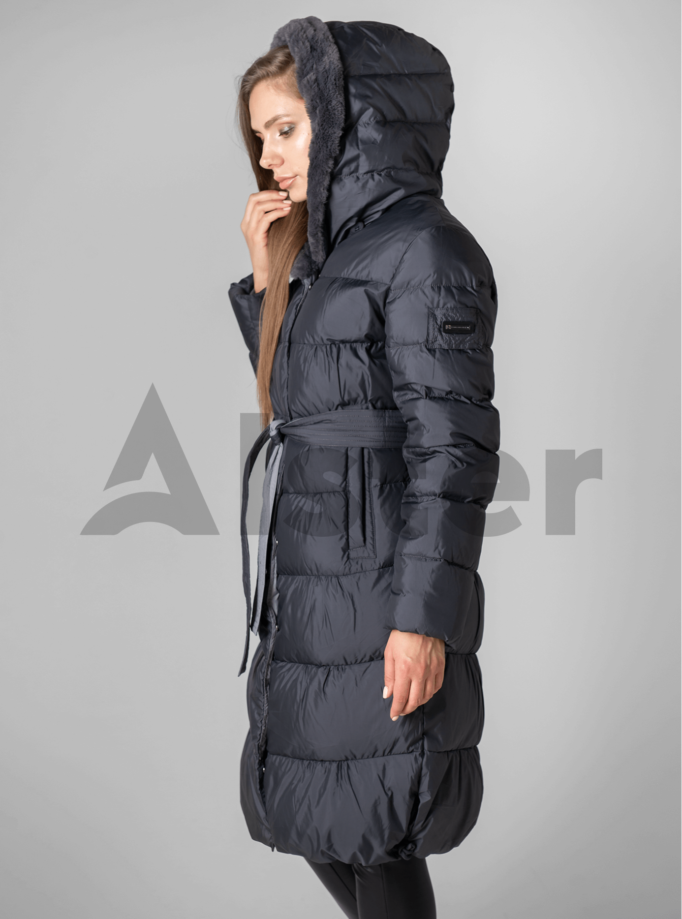 Куртка зимняя с мехом однотонная Графитовый XL (02-190135): фото - Alster.ua