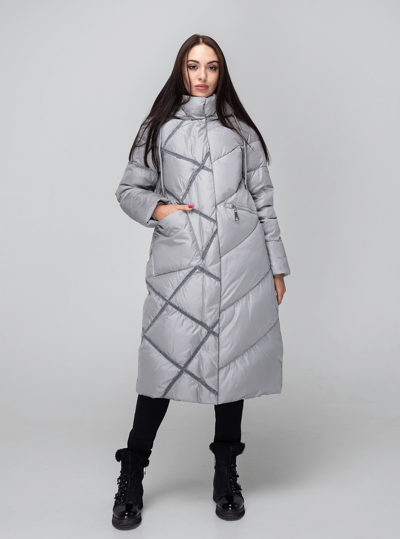 Зимняя женская куртка стёганая Серый M (02-190207): фото - Alster.ua