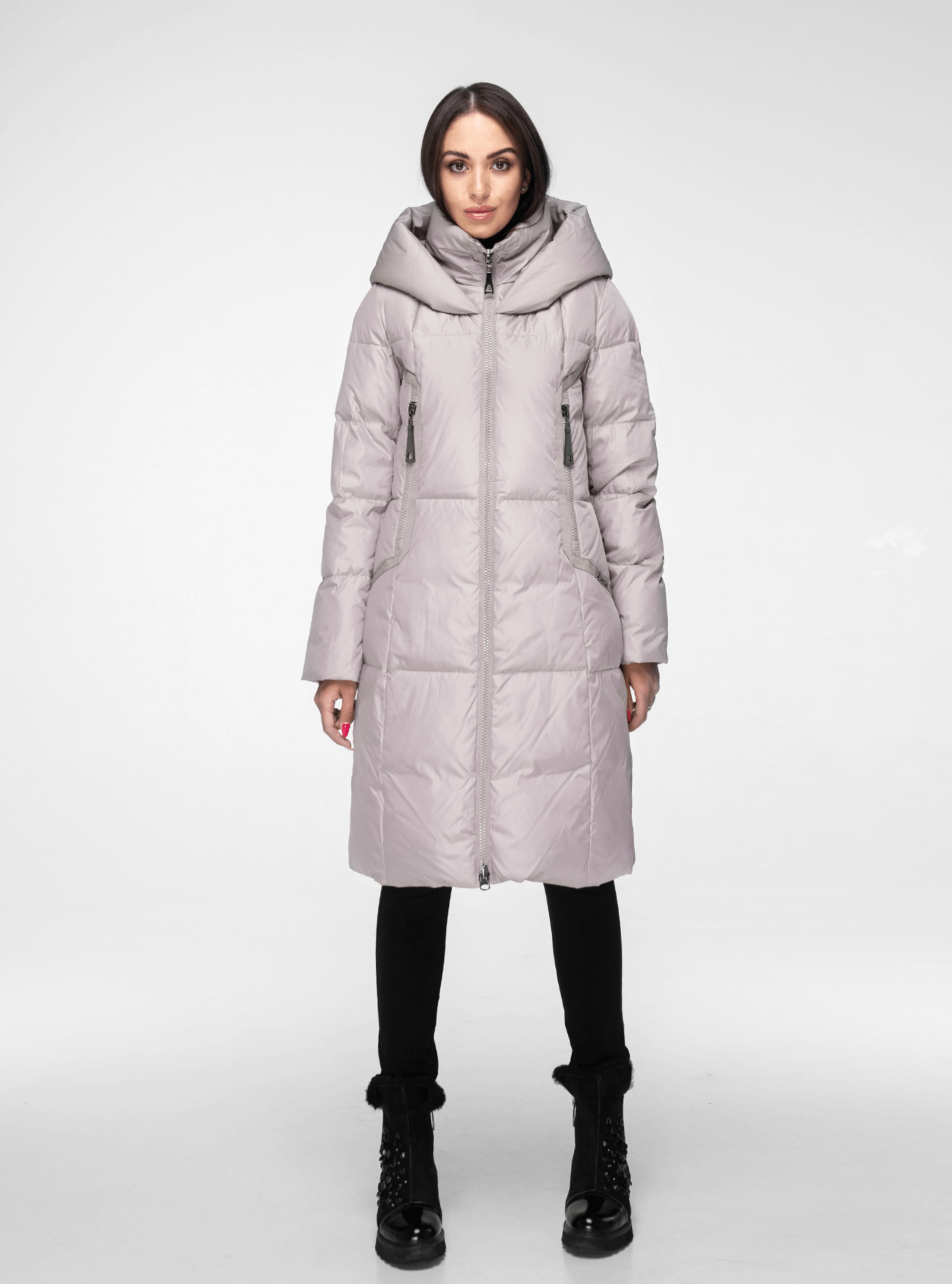 Классическая зимняя женская куртка Светло-серый 2XL (02-190215): фото - Alster.ua