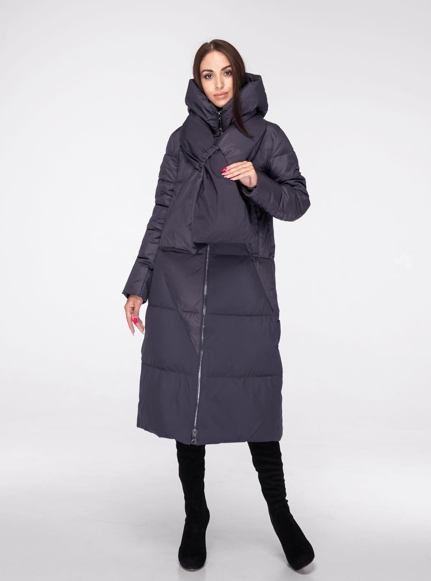 Классическая зимняя женская куртка Графитовый 2XL (02-190222): фото - Alster.ua