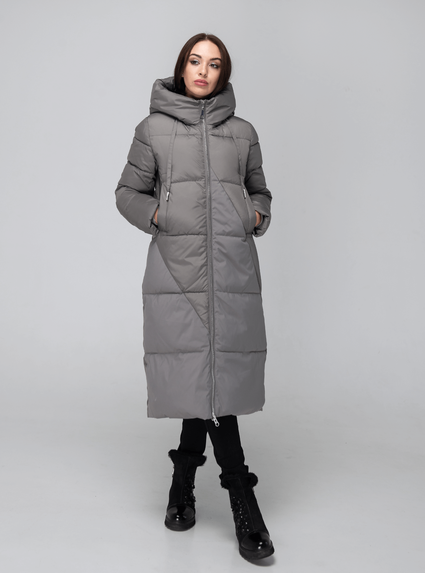 Классическая зимняя женская куртка Серый 2XL (02-190227): фото - Alster.ua