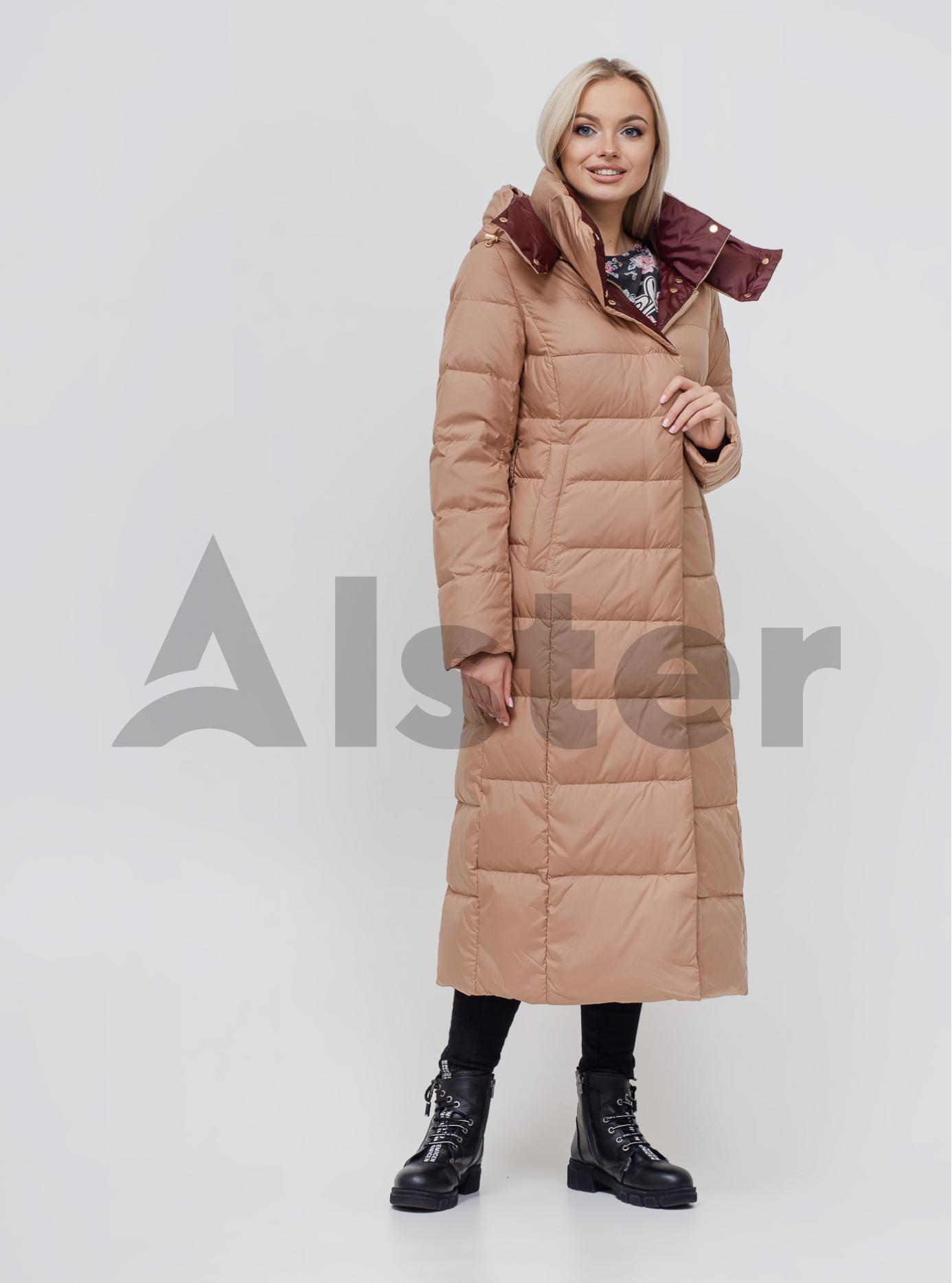 Пуховик зимовий довгий з поясом Бежевий S (02-N200529): фото - Alster.ua